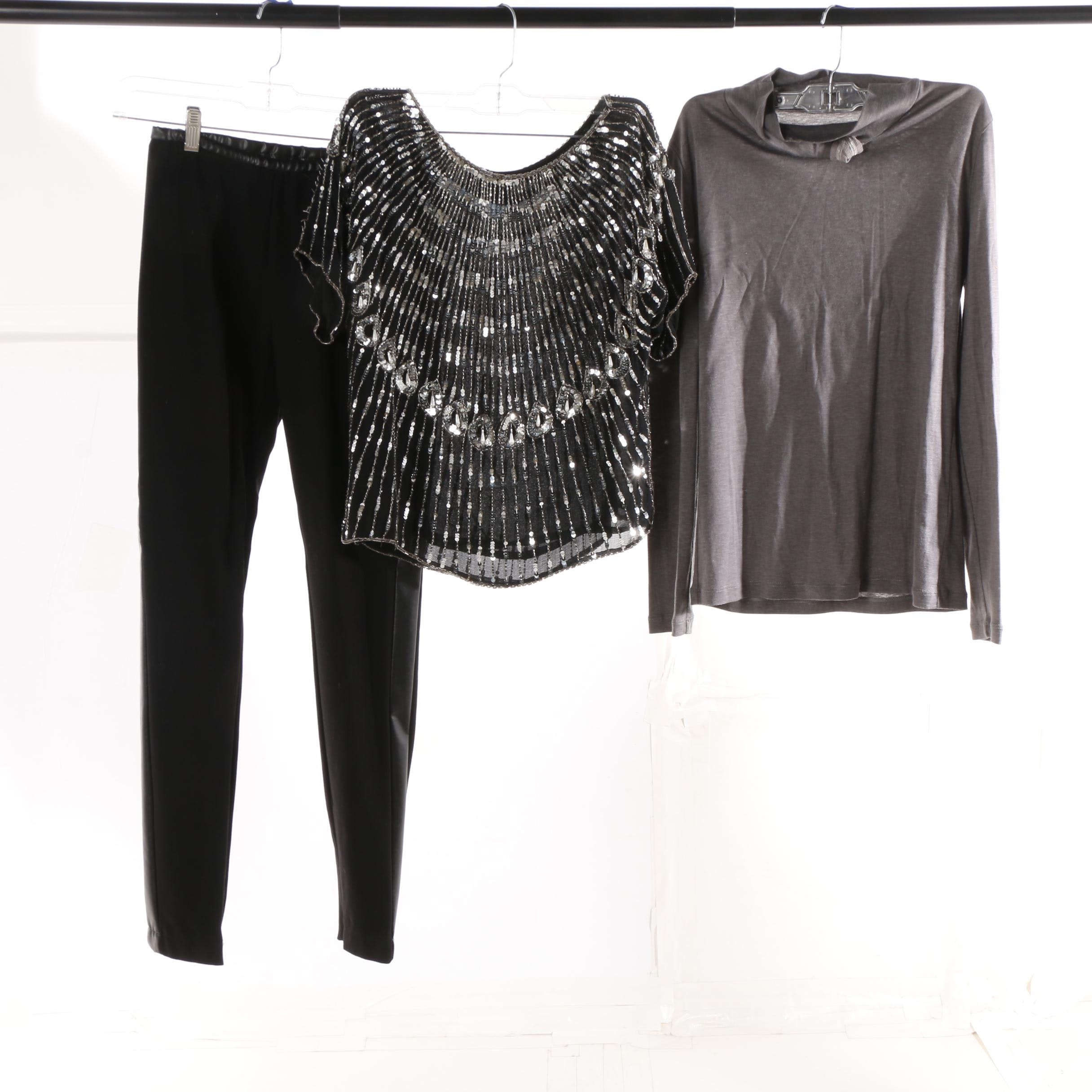 Boda Nights Embellished Silk Top with Pants and Turtleneck