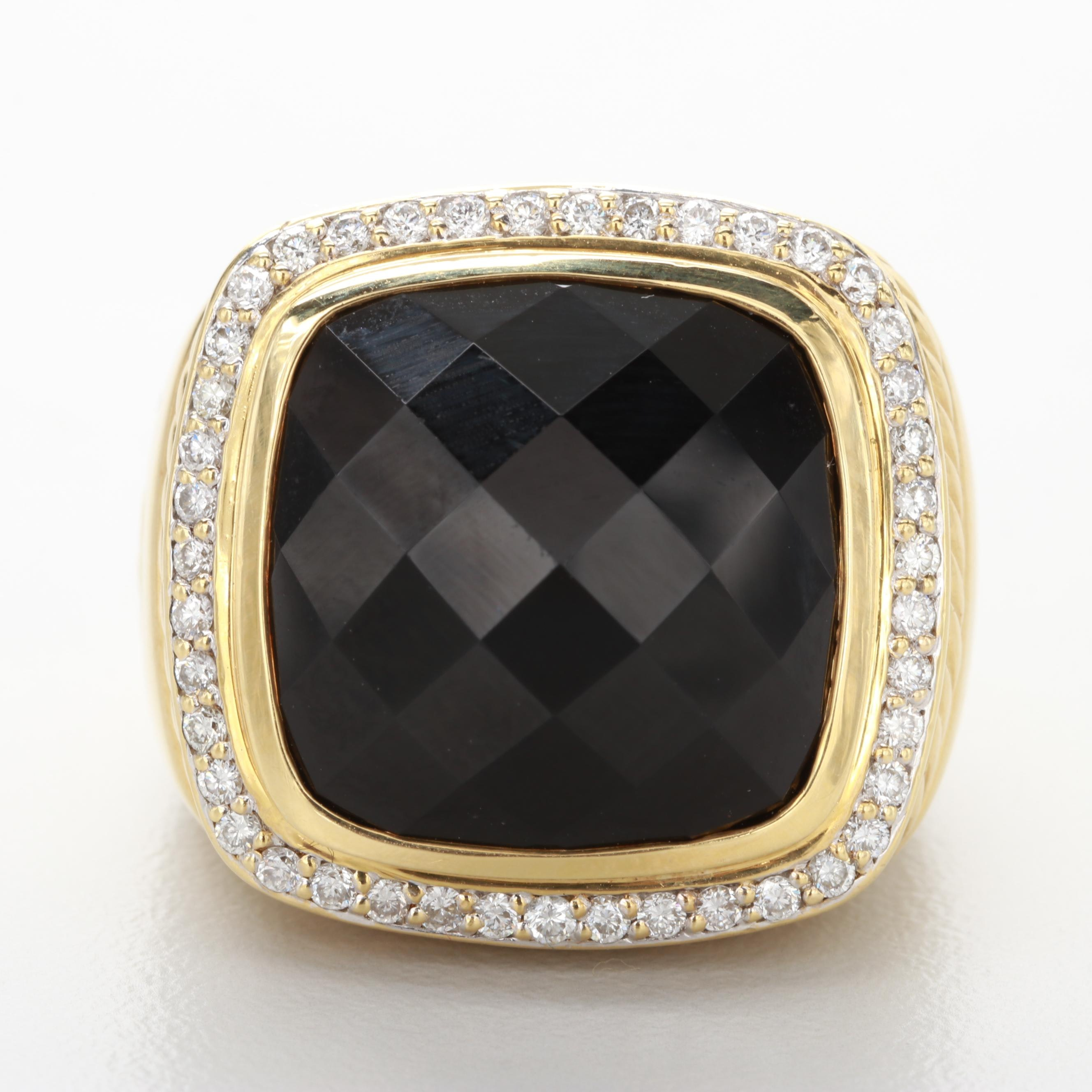 David Yurman 18K Yellow Gold Black Onyx and Diamond Ring