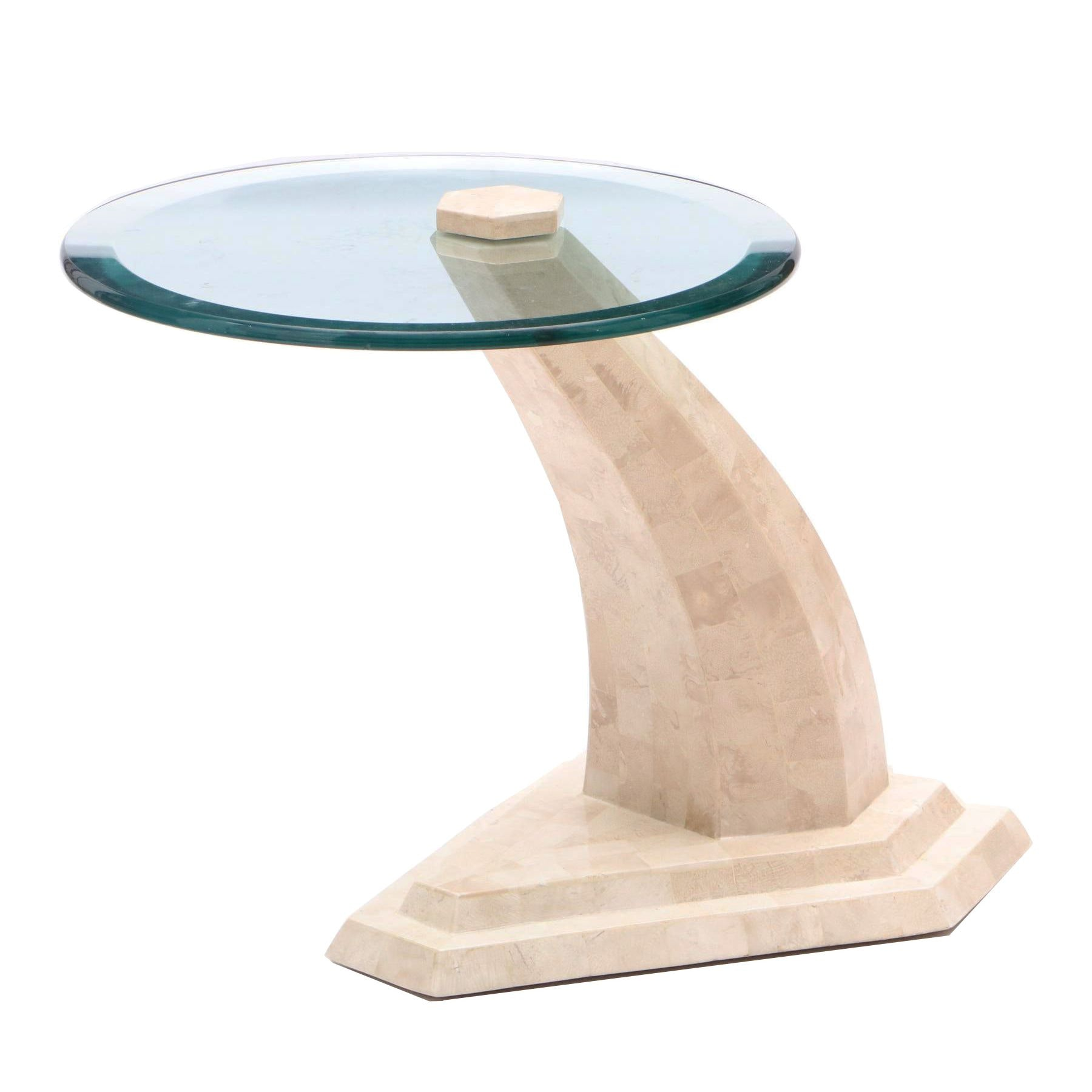 Mid-Century Modern Style Tesselated Tempered Glass and Marble Table