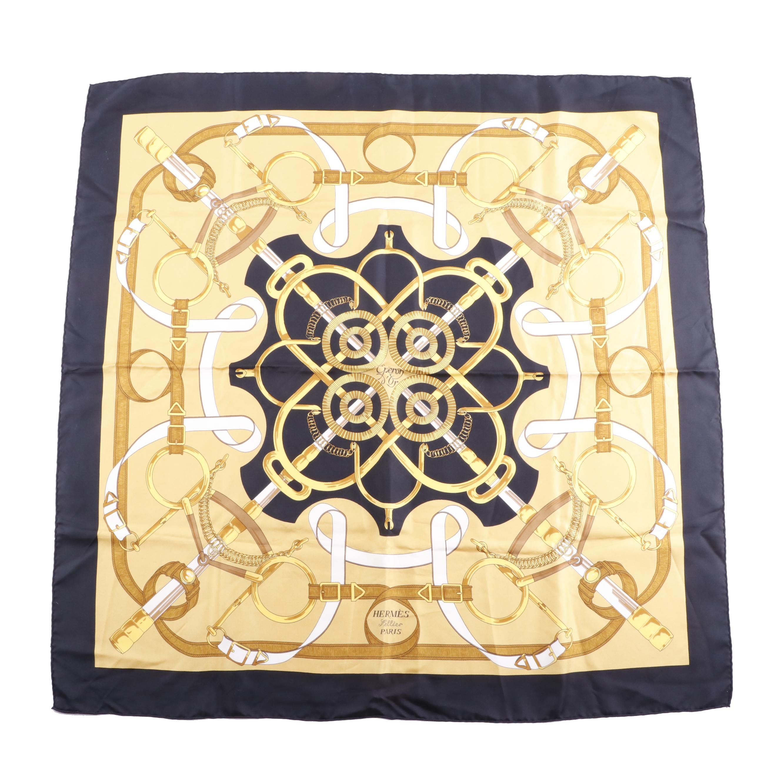 "Vintage Hermès of Paris ""Eperon d'Or"" Silk Scarf"