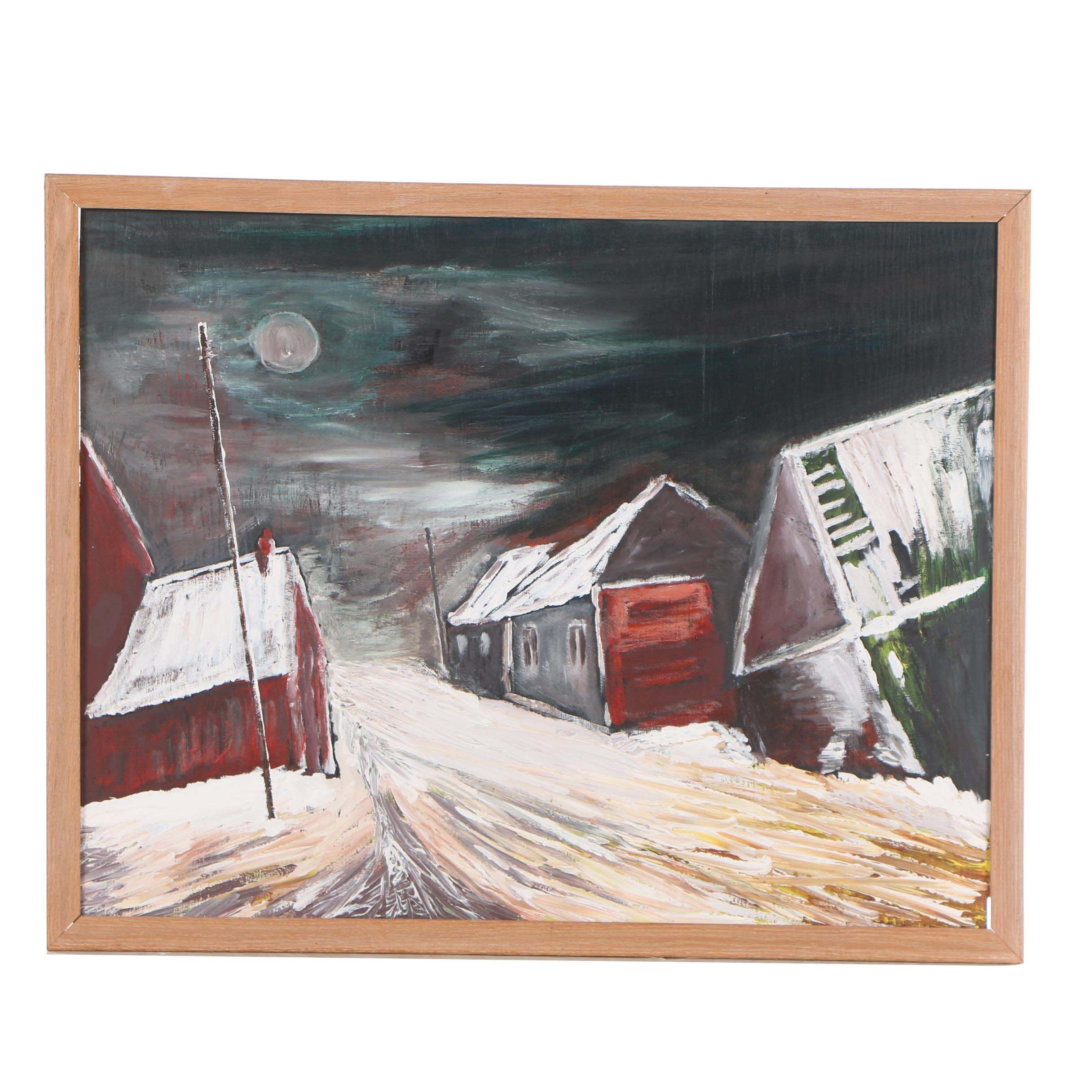 "Jorge Naranjo Acrylic Painting ""The Millyard in Winter"""