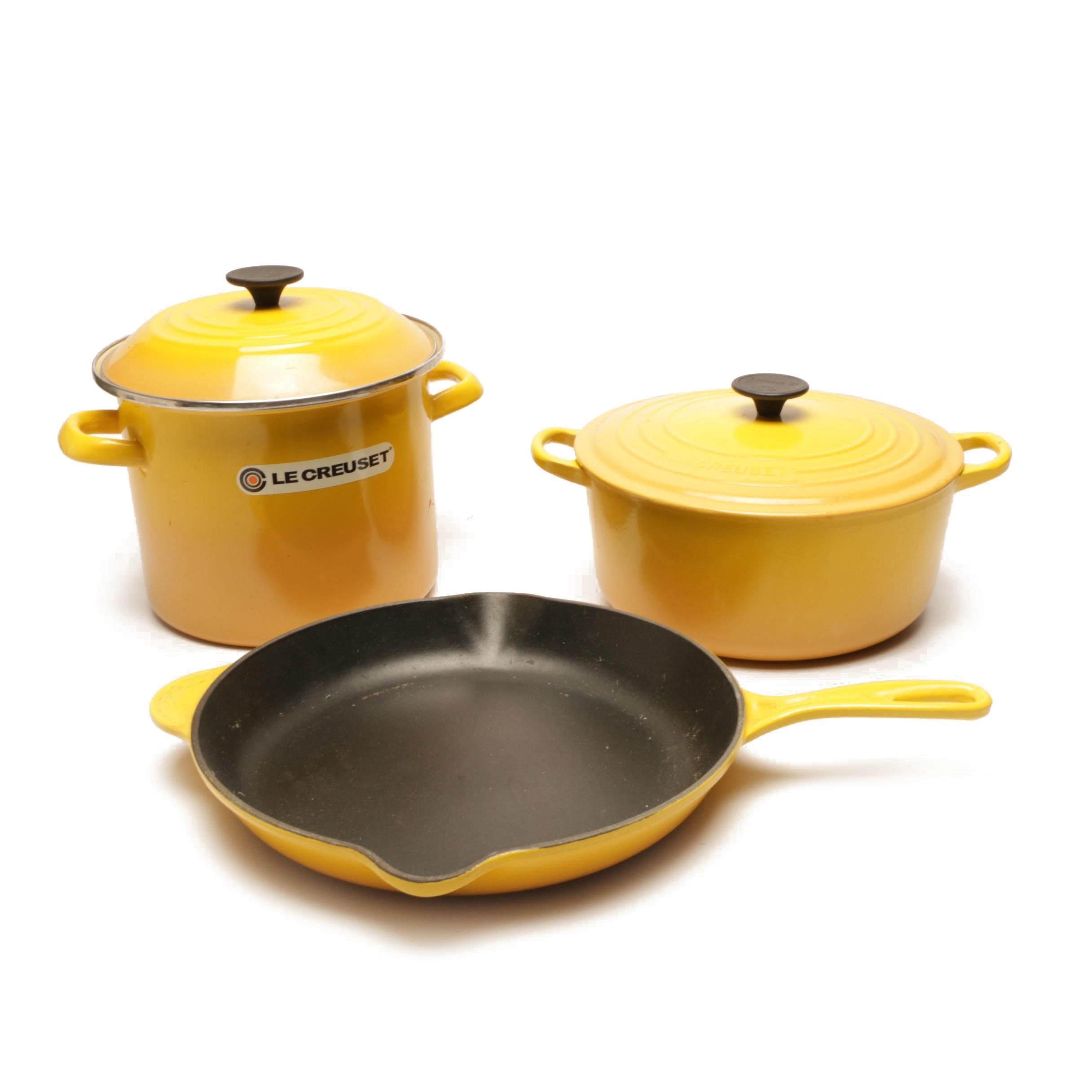 Le Creuset Yellow Enameled Cast Iron Stock Pot, Dutch Oven and Fry Pan