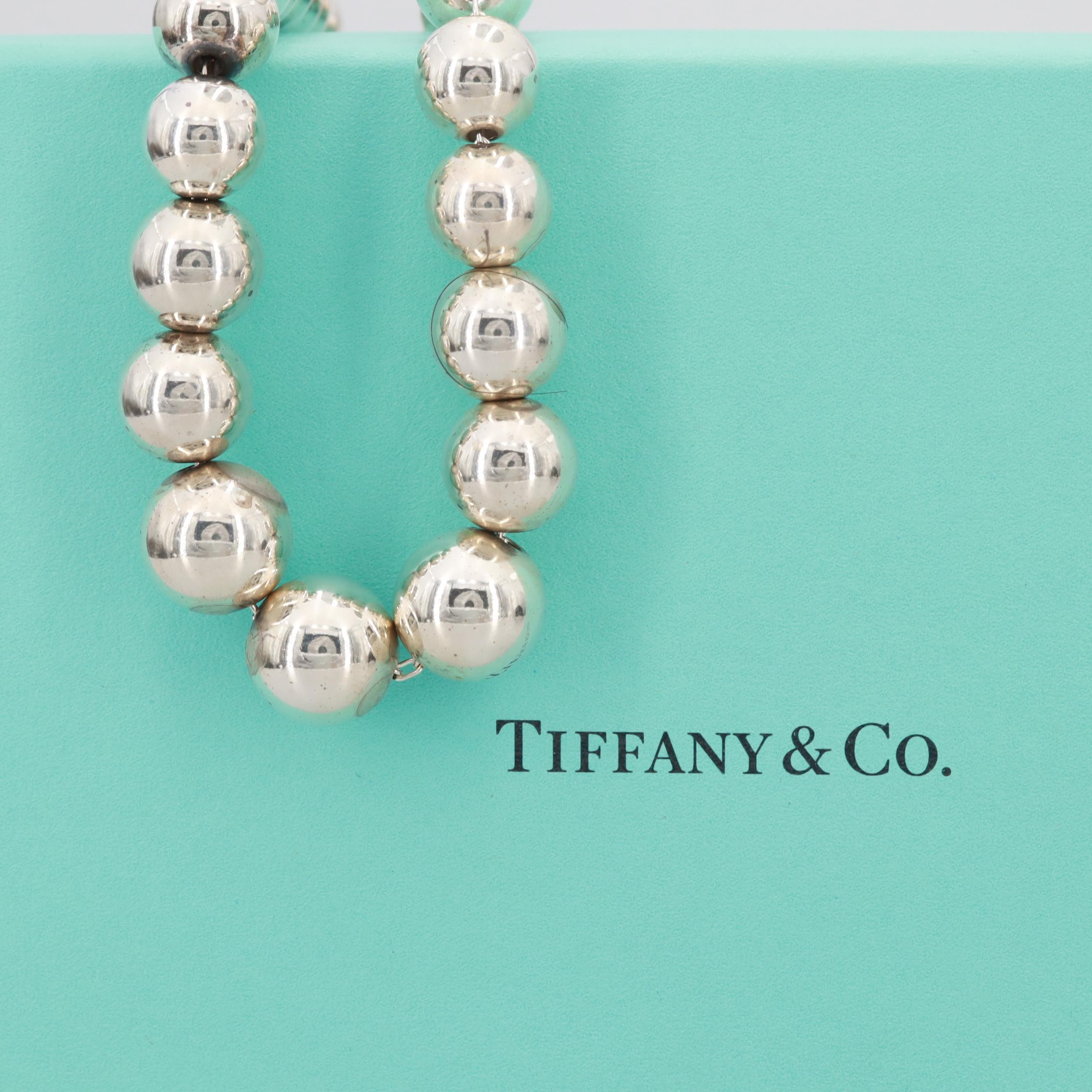 Tiffany & Co. Sterling Silver Graduating Beaded Necklace