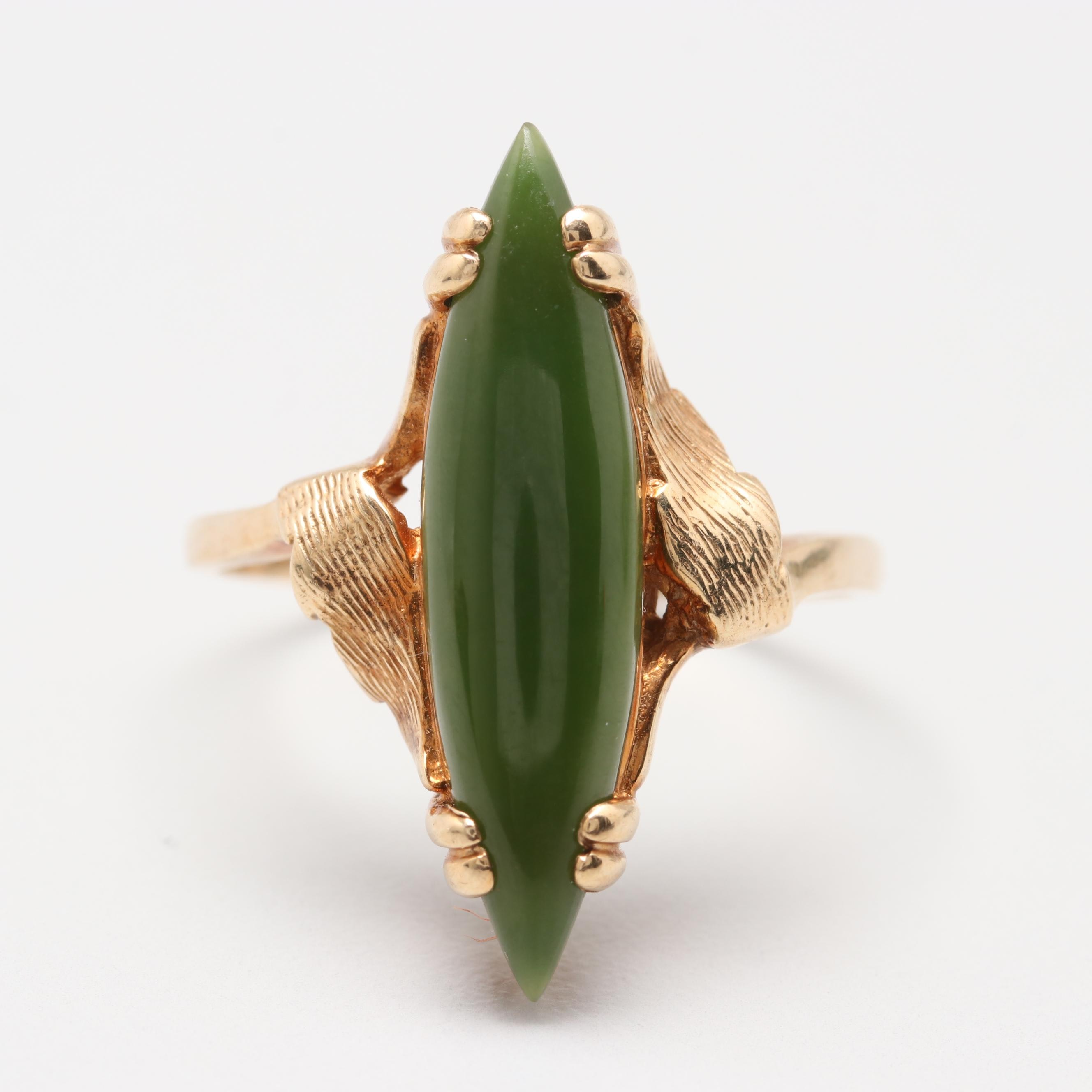 10K Yellow Gold Nephrite Ring