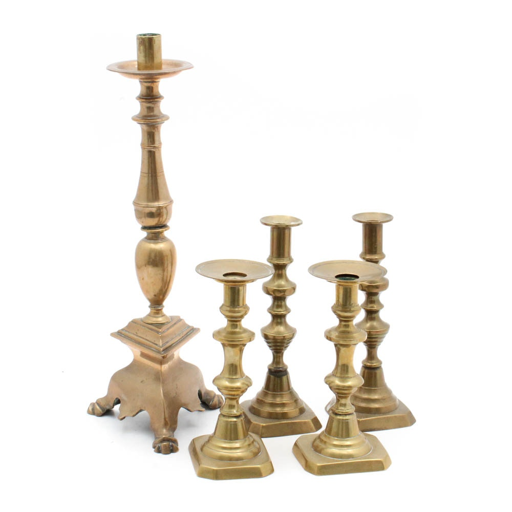 Alter Candlestick and Two Brass Candlestick Pairs, 19th Century
