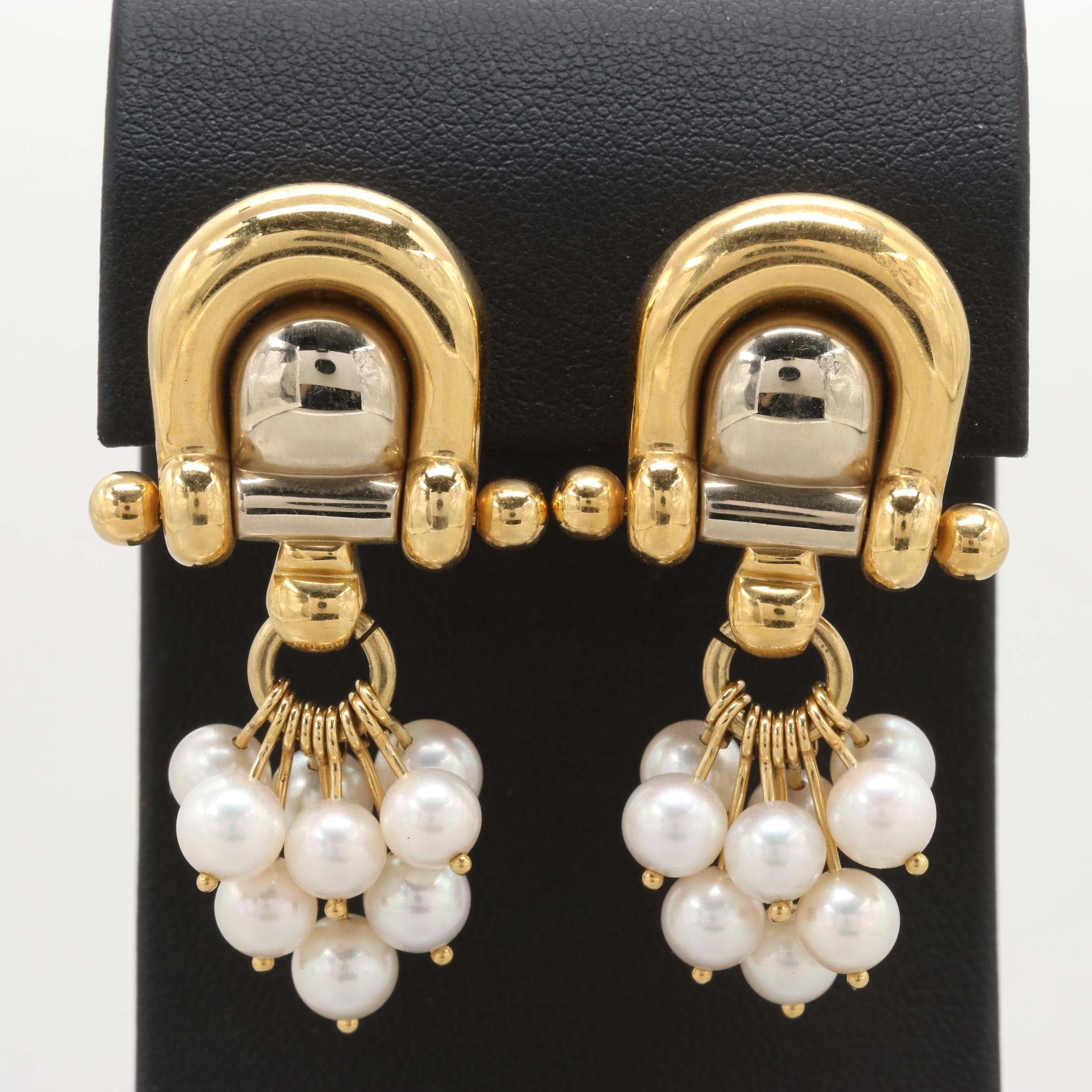 18K Two Tone Gold Earrings with Cultured Pearl Clusters