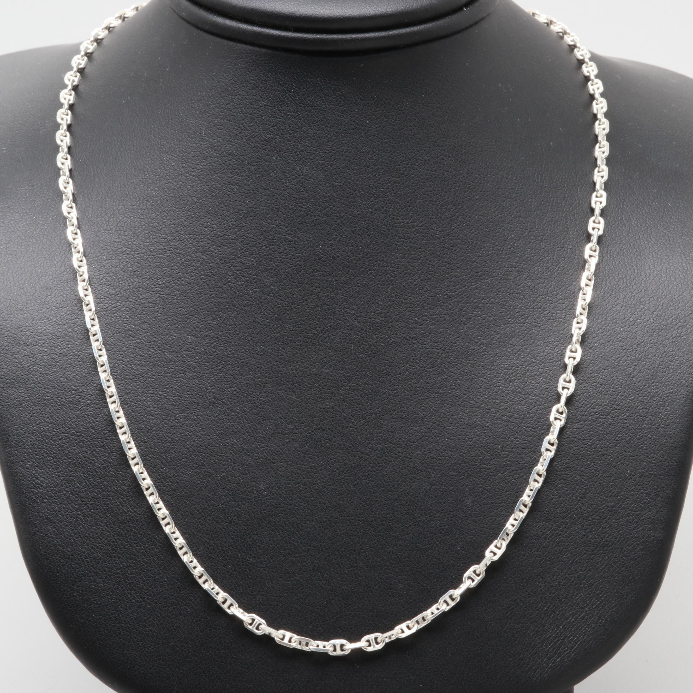 Sterling Silver Flat Anchor Chain Link Necklace