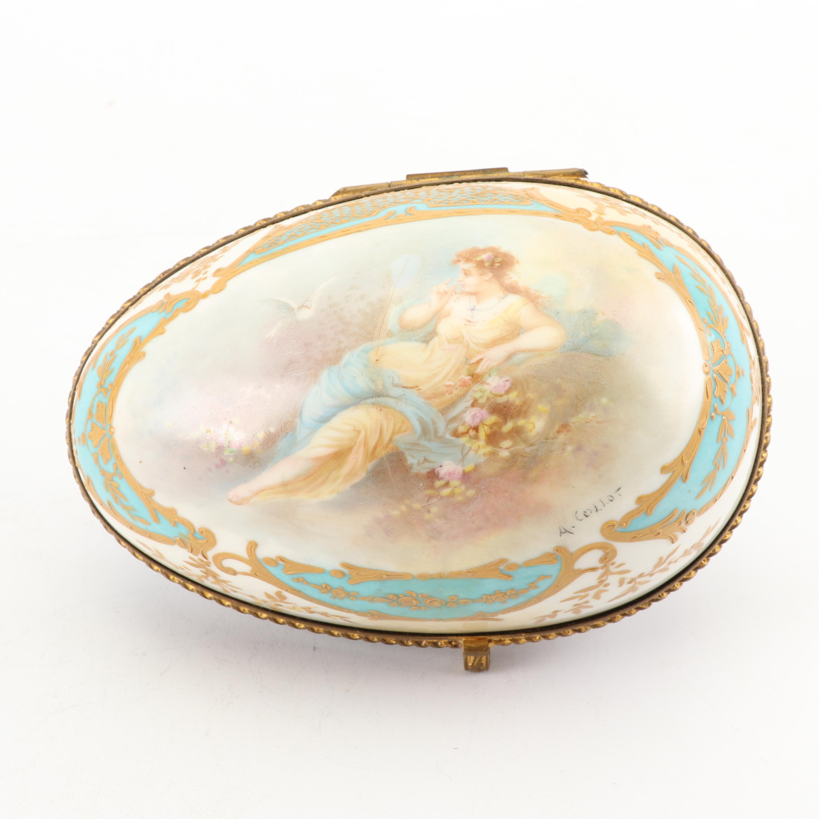 """Chateau Des Tuileries Sevres-style Porcelain Egg-Shaped Box, Signed """"A. Collot"""""""
