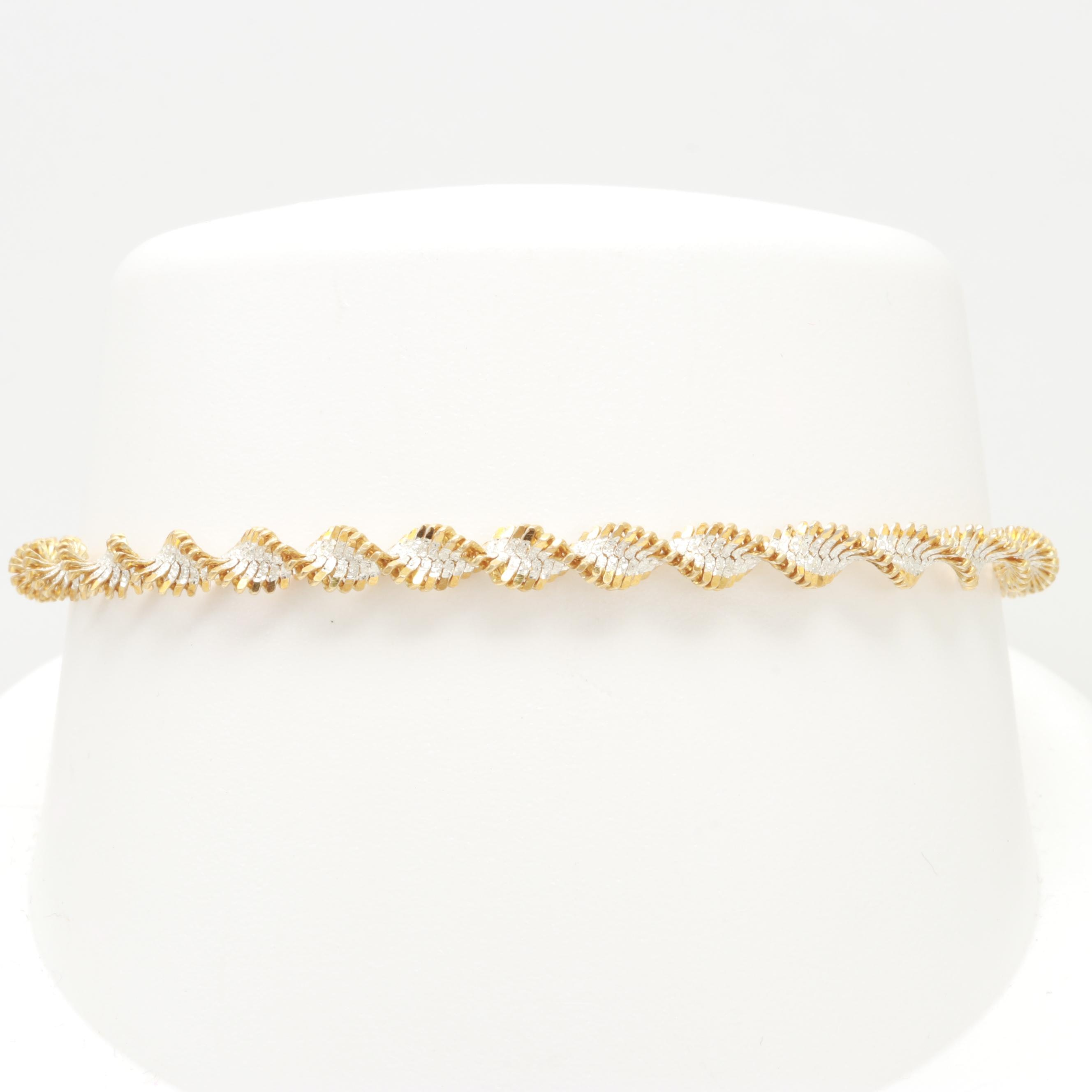 Sterling Silver Twisted Herringbone Bracelet with Gold Wash on Sterling Accents