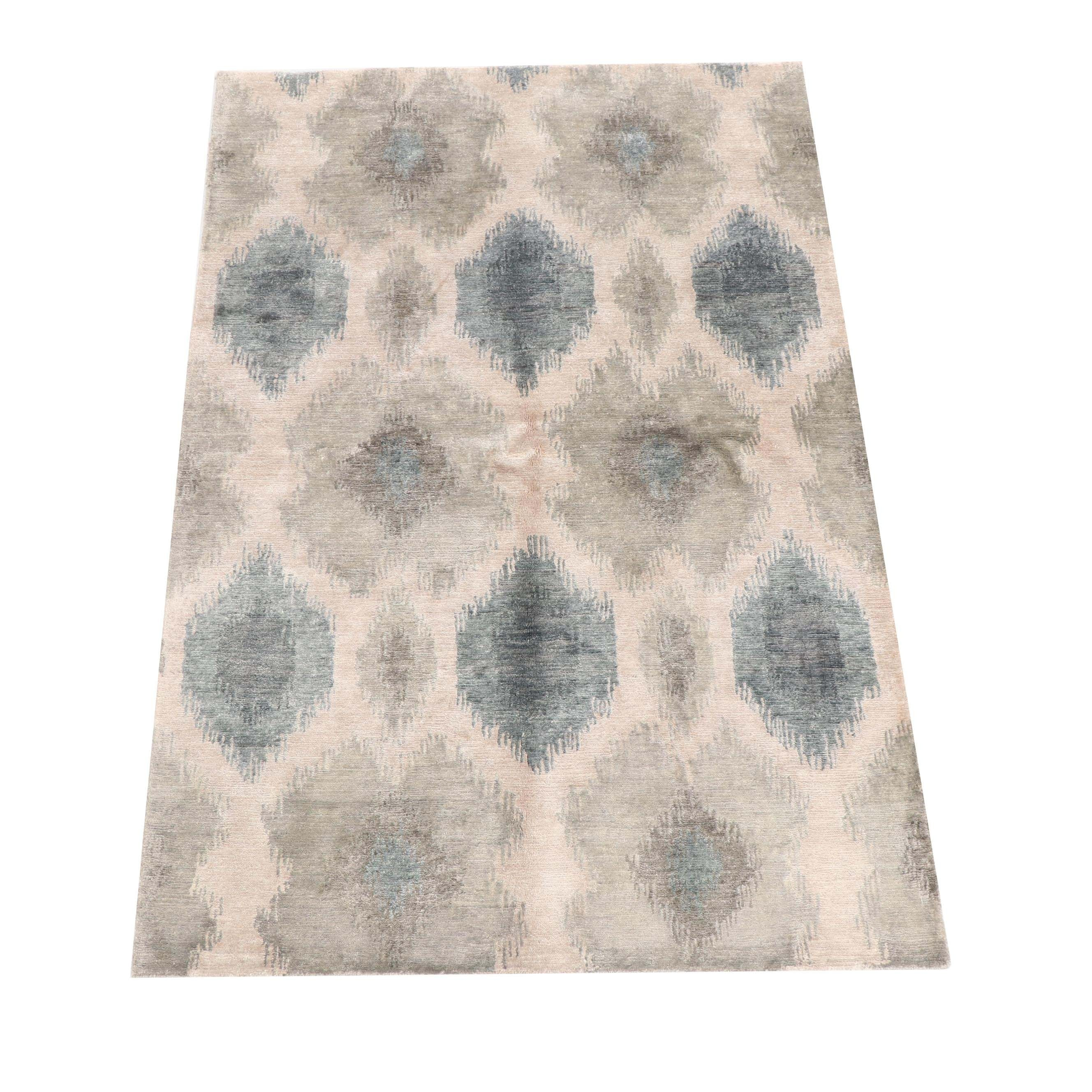 Hand-Knotted Nepalese Ikat Patterned Tibetan Wool Rug
