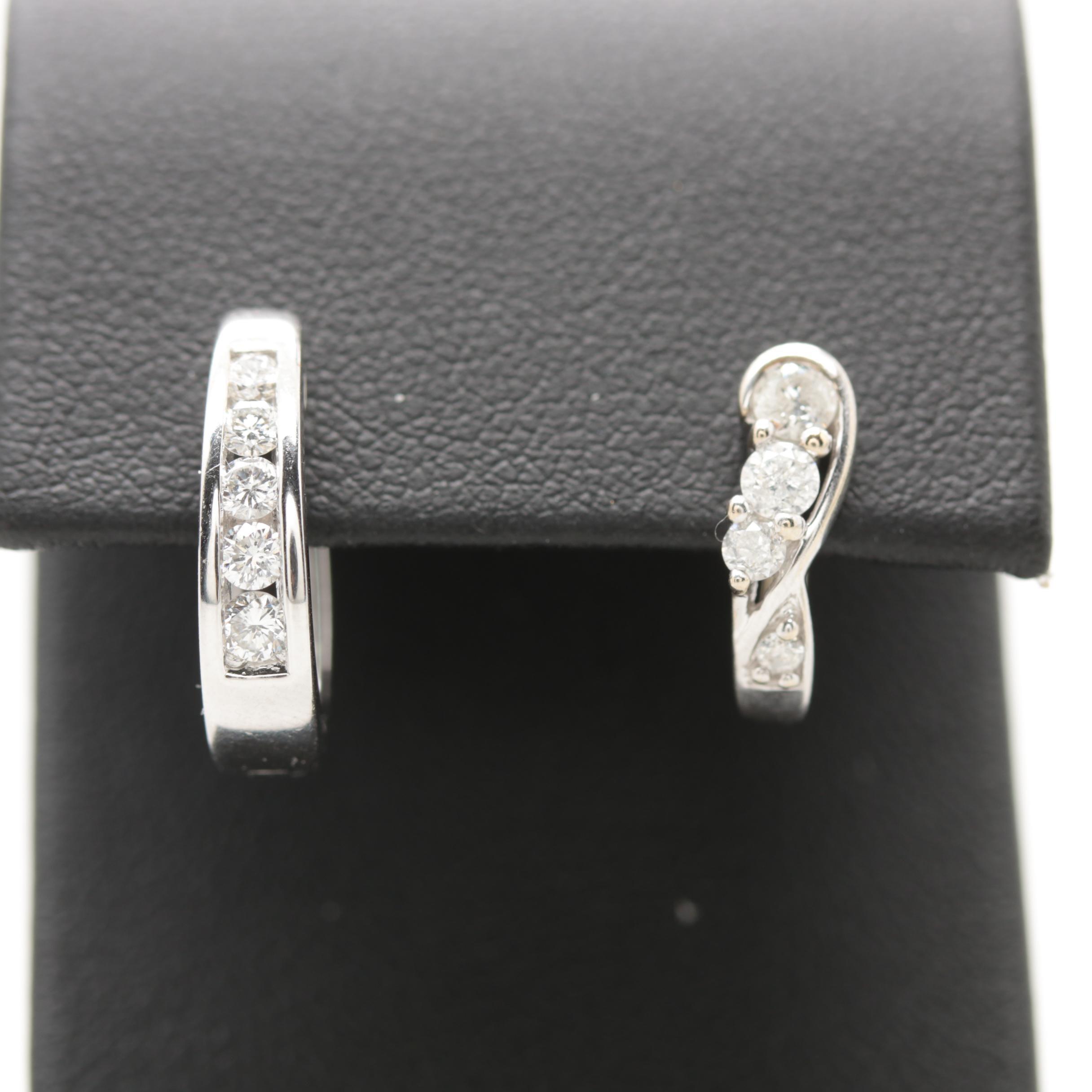 14K and 10K White Gold Diamond Single Earrings