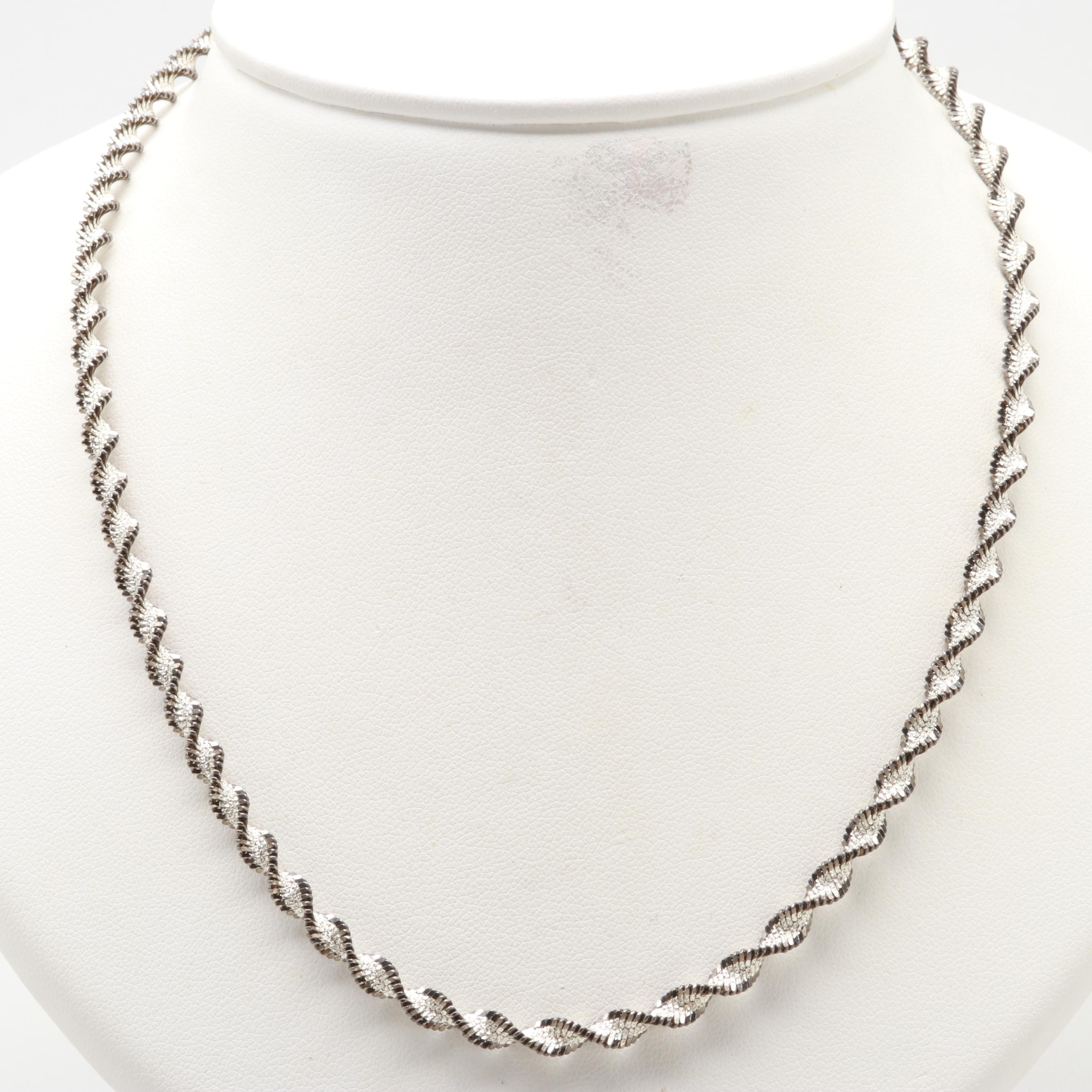Sterling Silver Twisted Herringbone Necklace with Black Accents