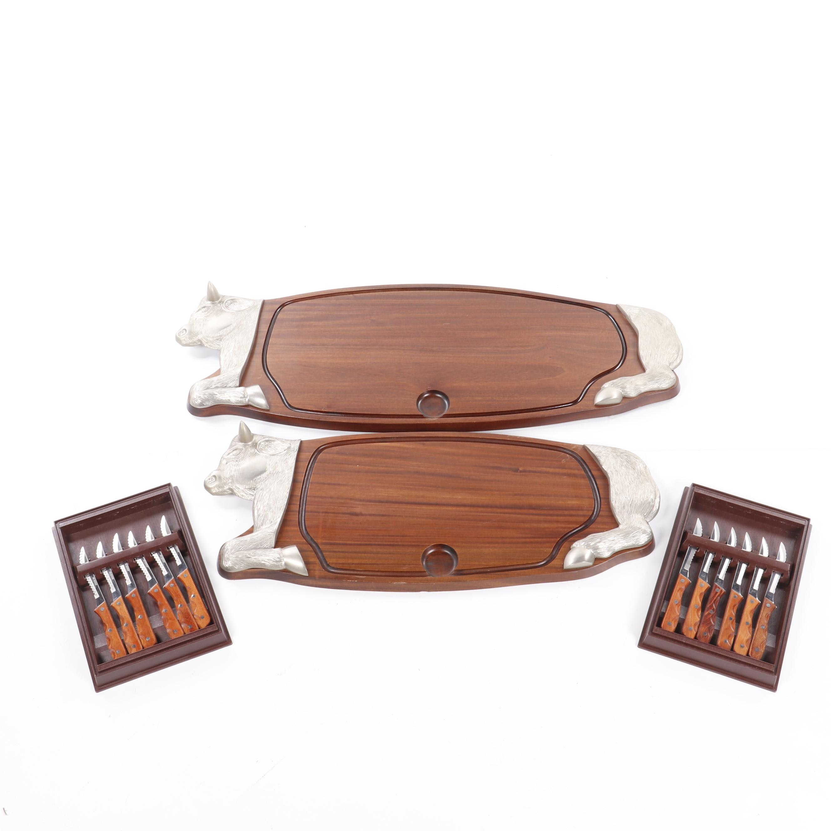 Set of Vintage French Cow Cutting Boards with Viking Knives