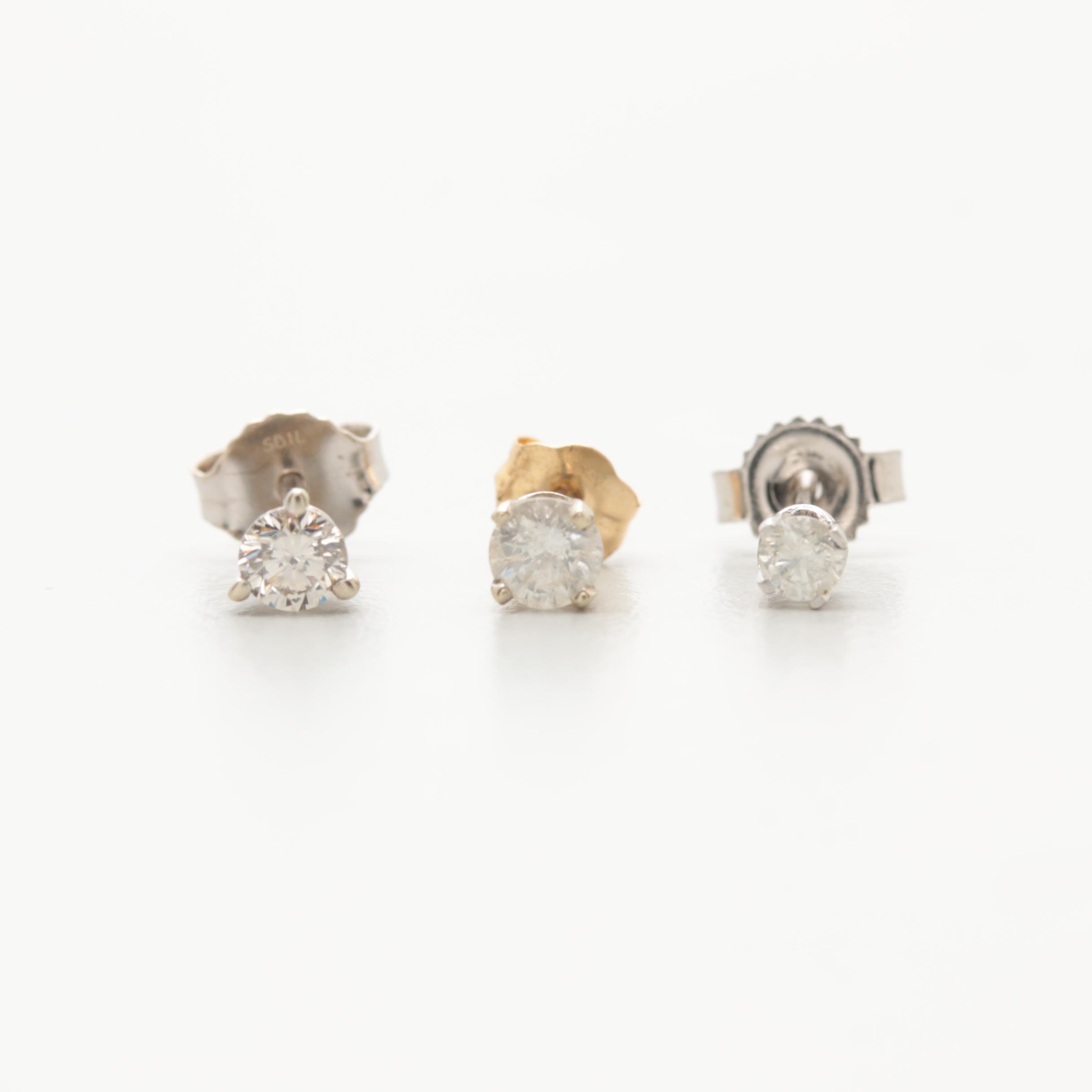 14K and 10K White Gold Diamond Stud Single Earring