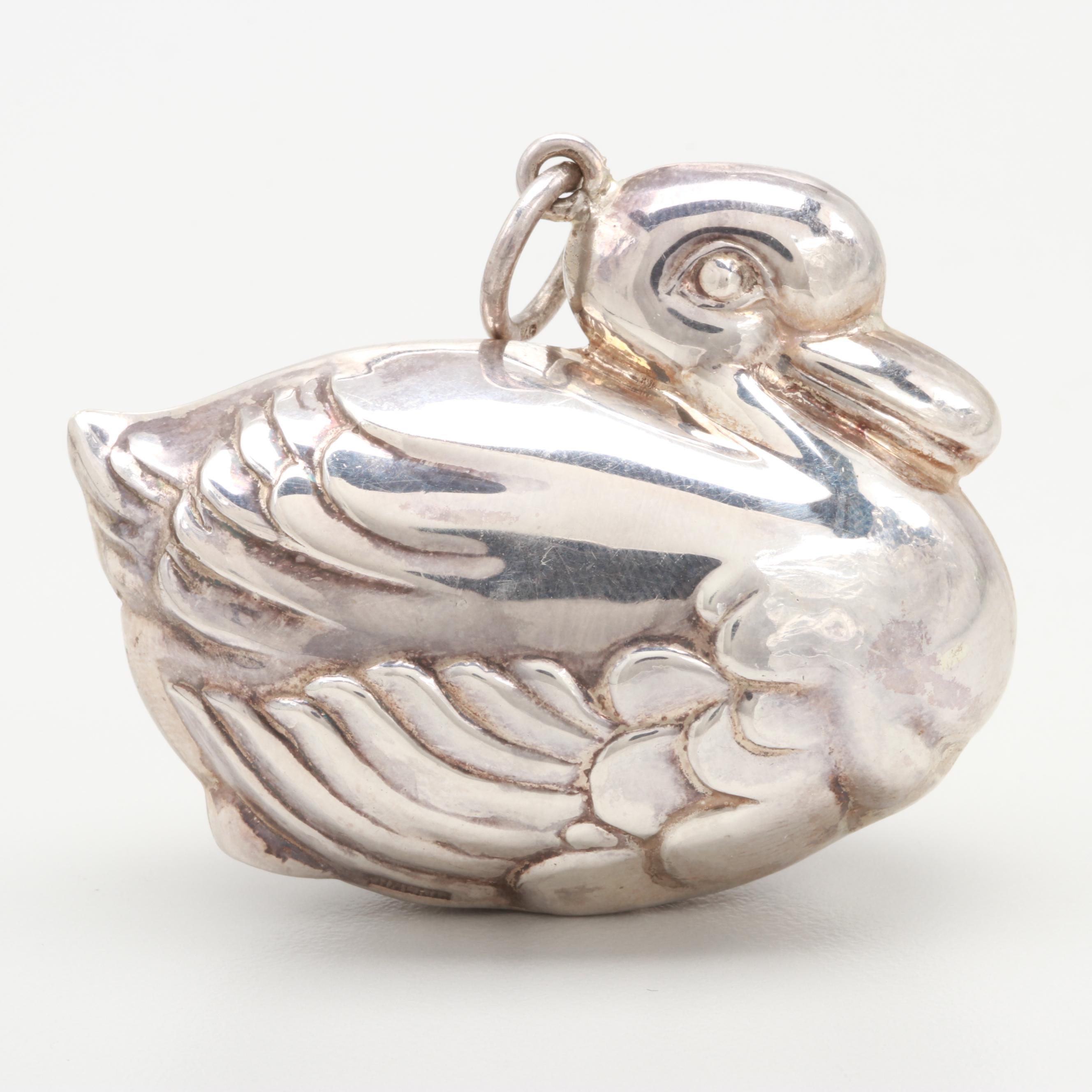 Sterling Silver Duck Pendant