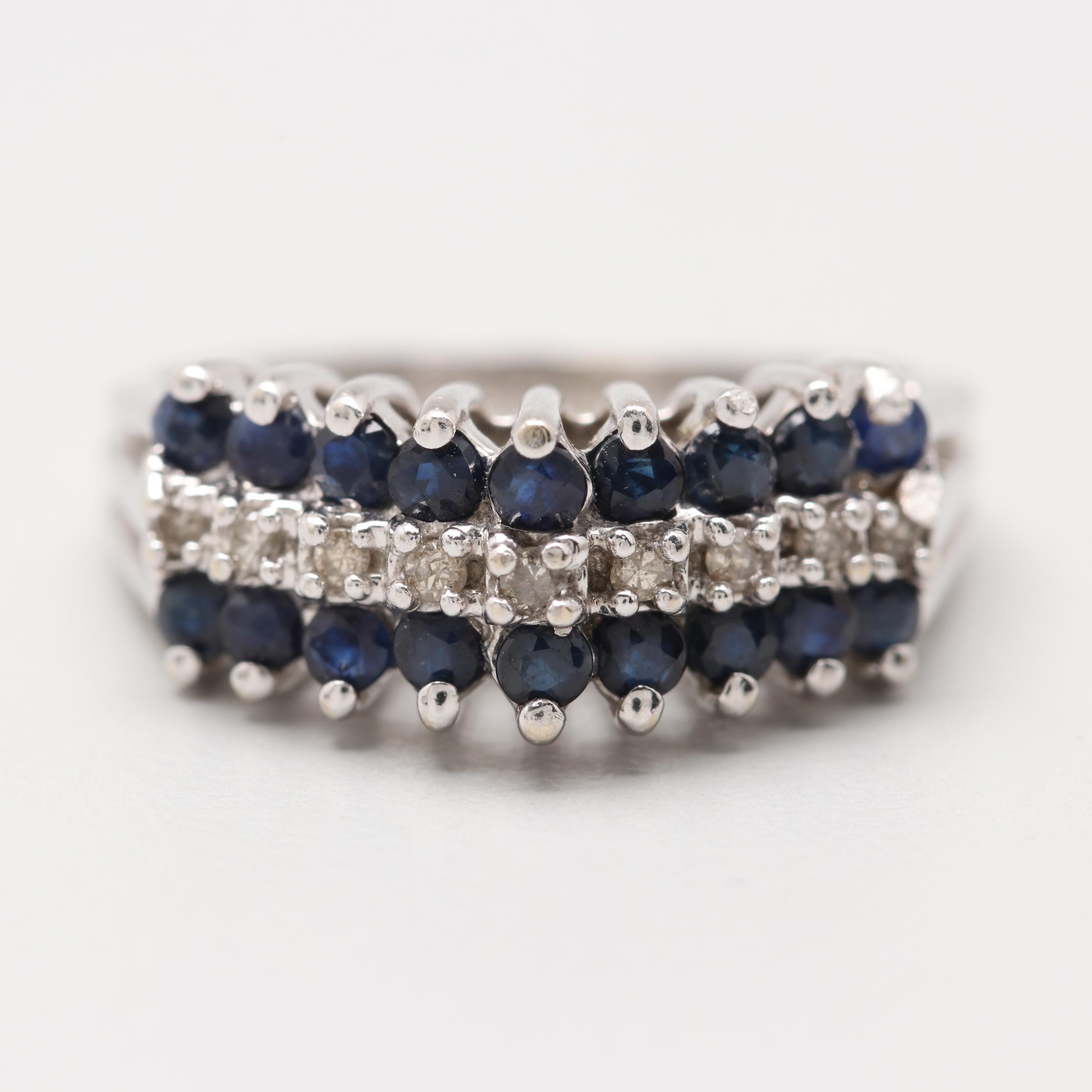 Alwand Vahan 14K White Gold Diamond and Blue Sapphire Ring