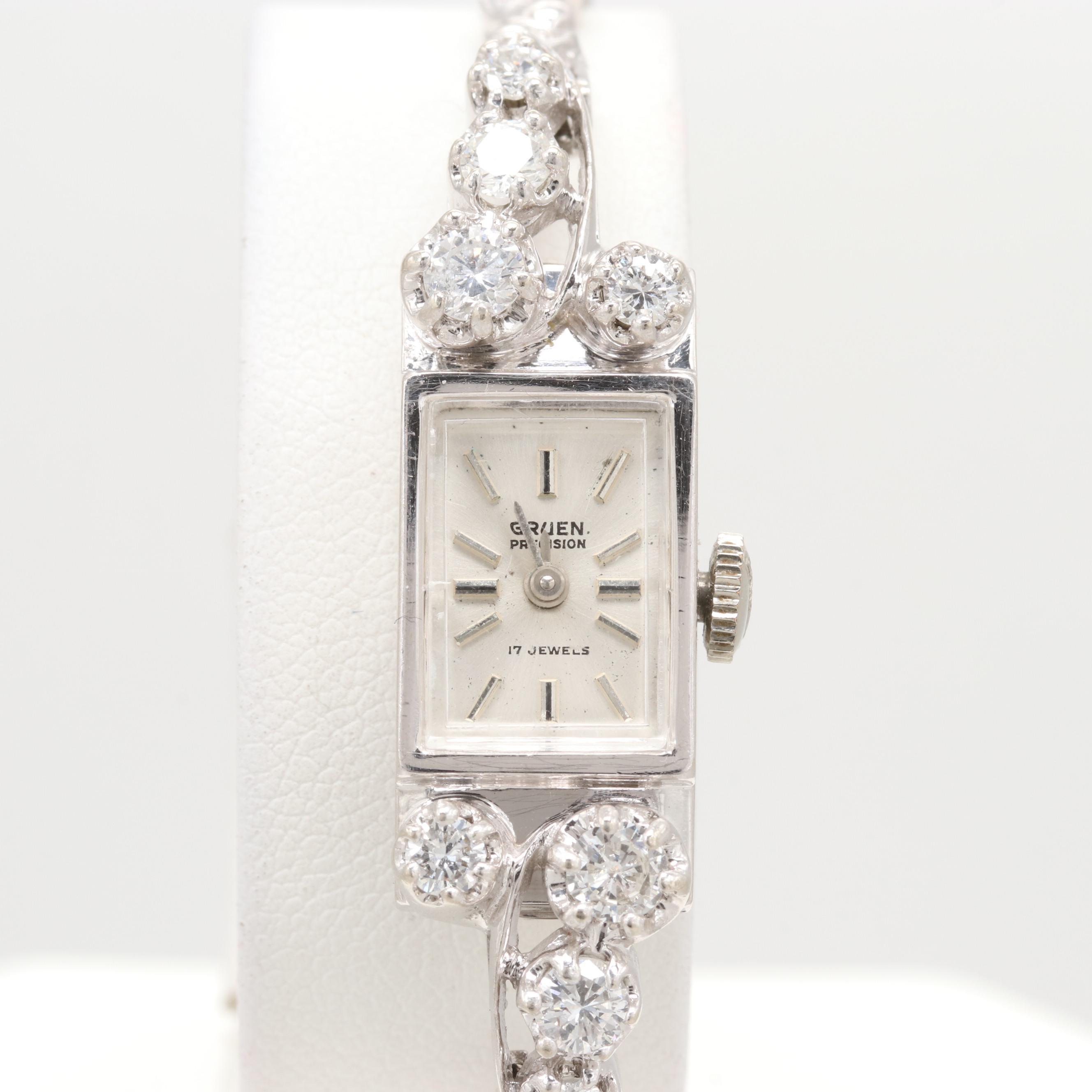 Gruen 14K White Gold 1.05 CTW Diamond Stem Wind Wristwatch