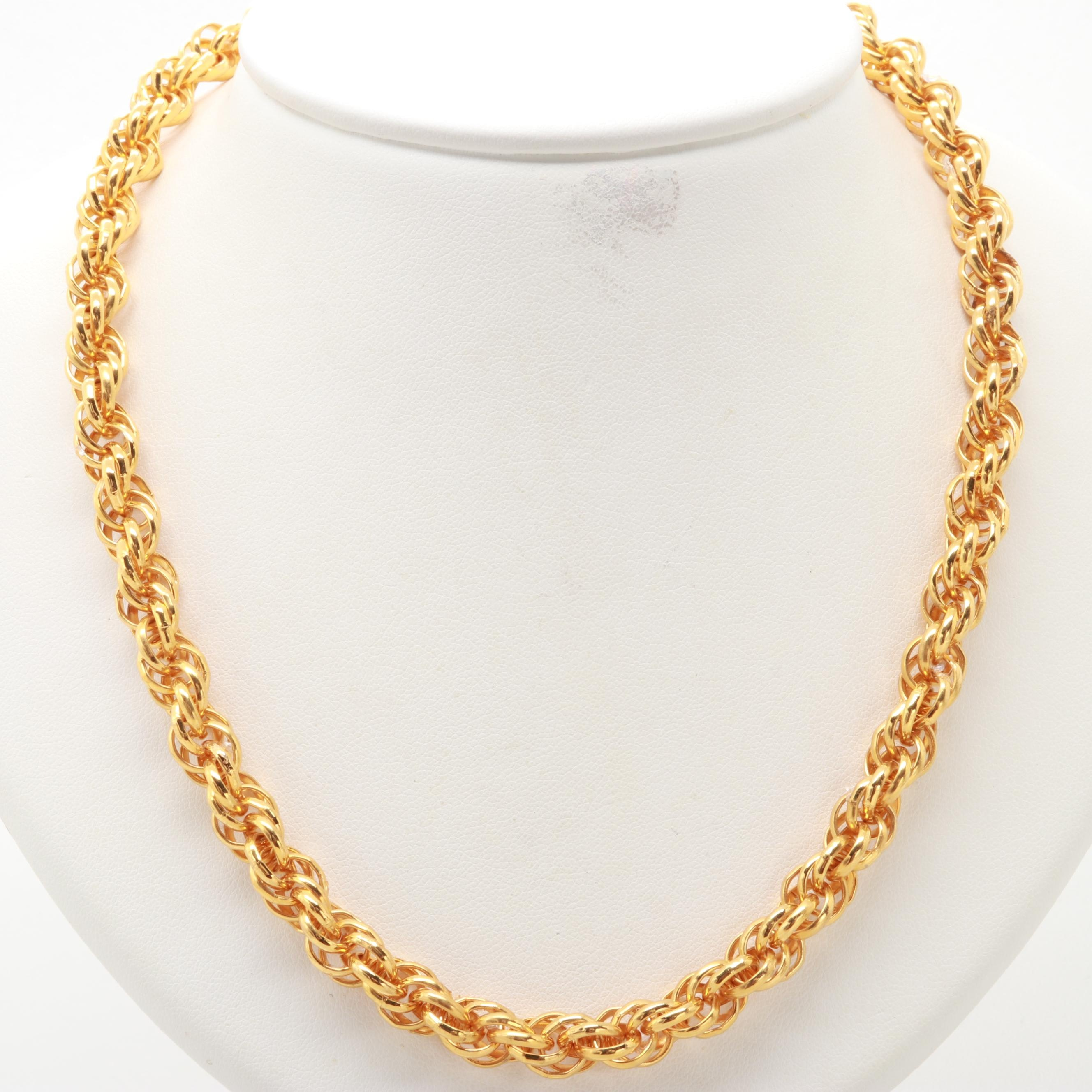 Gold Tone Twisted Rope Chain Link Necklace