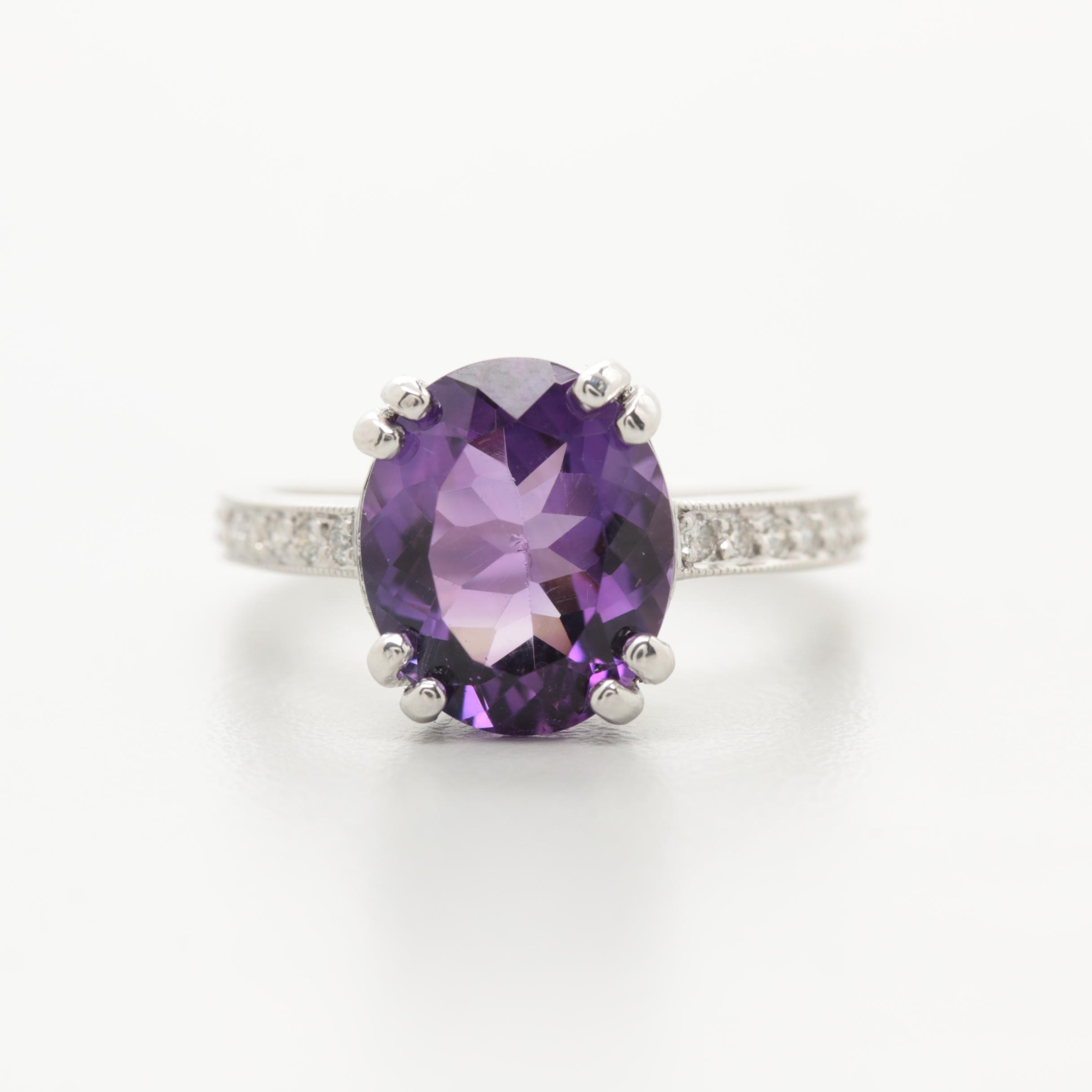 Platinum Amethyst and Diamond Ring