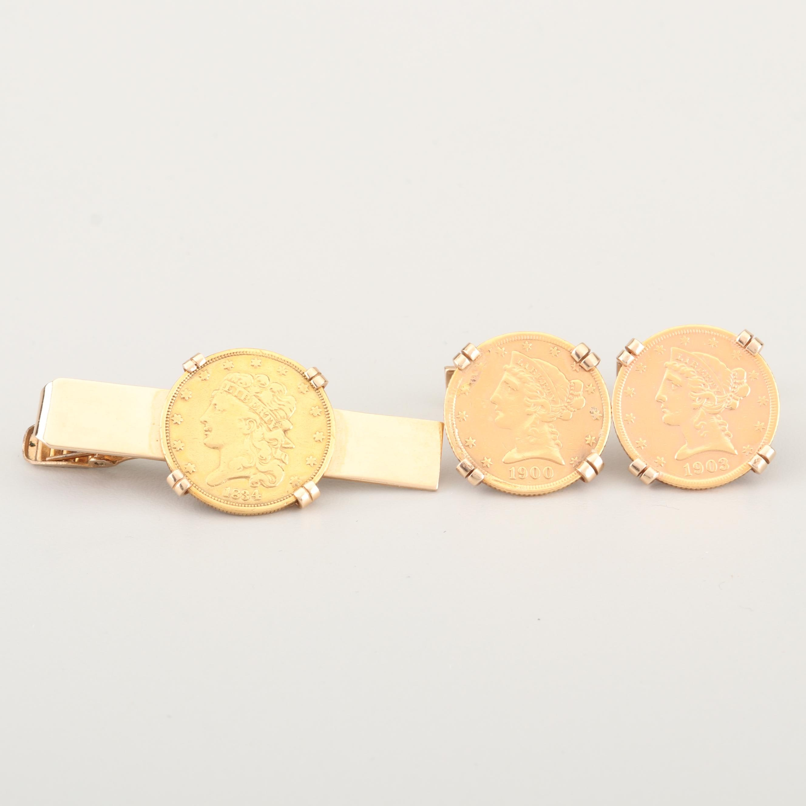 Liberty Head $5 Gold Coin Cufflinks and 1834 Classic Head $5 Gold Coin Tie Clip