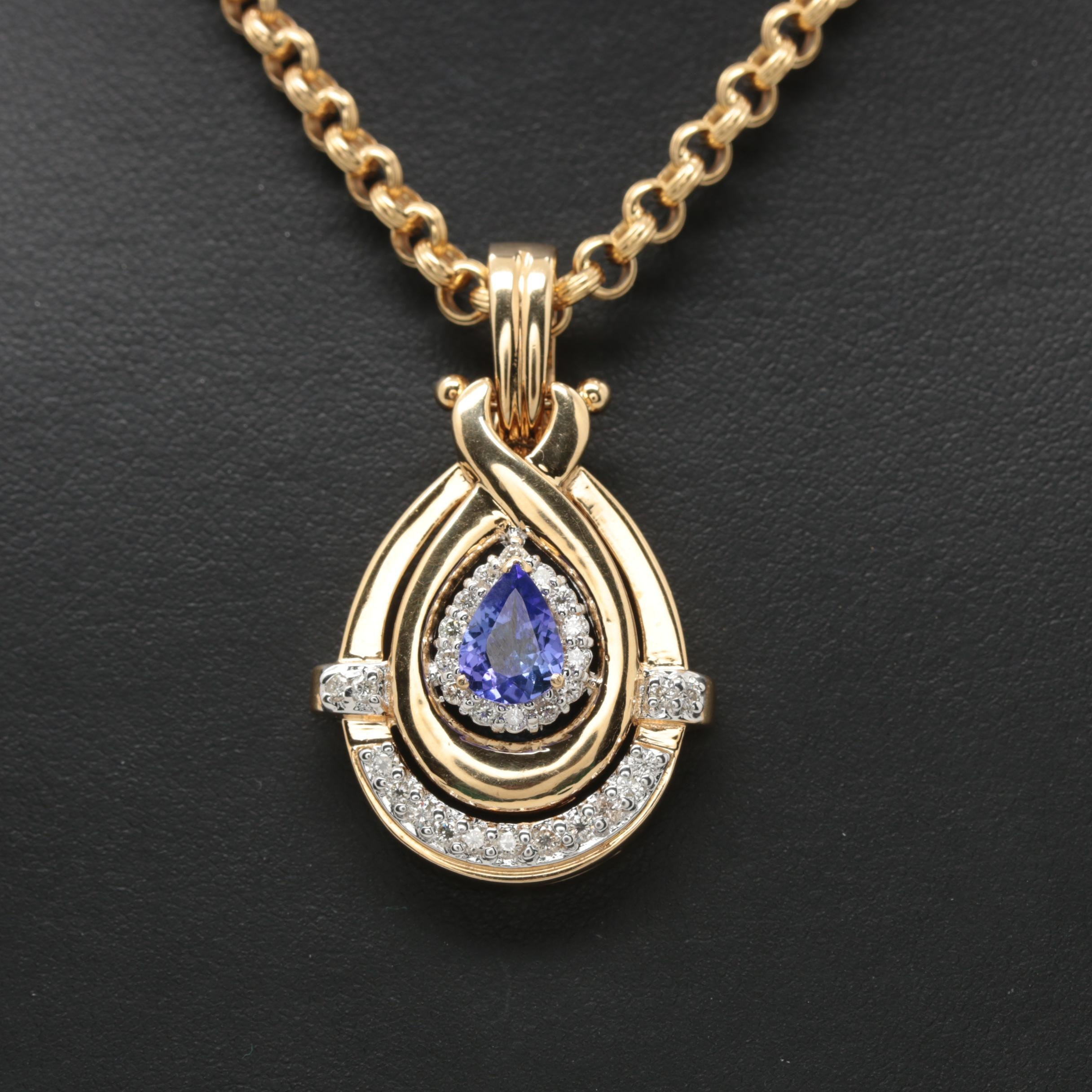 14K Yellow Gold Tanzanite and Diamond Enhancer Pendant Necklace
