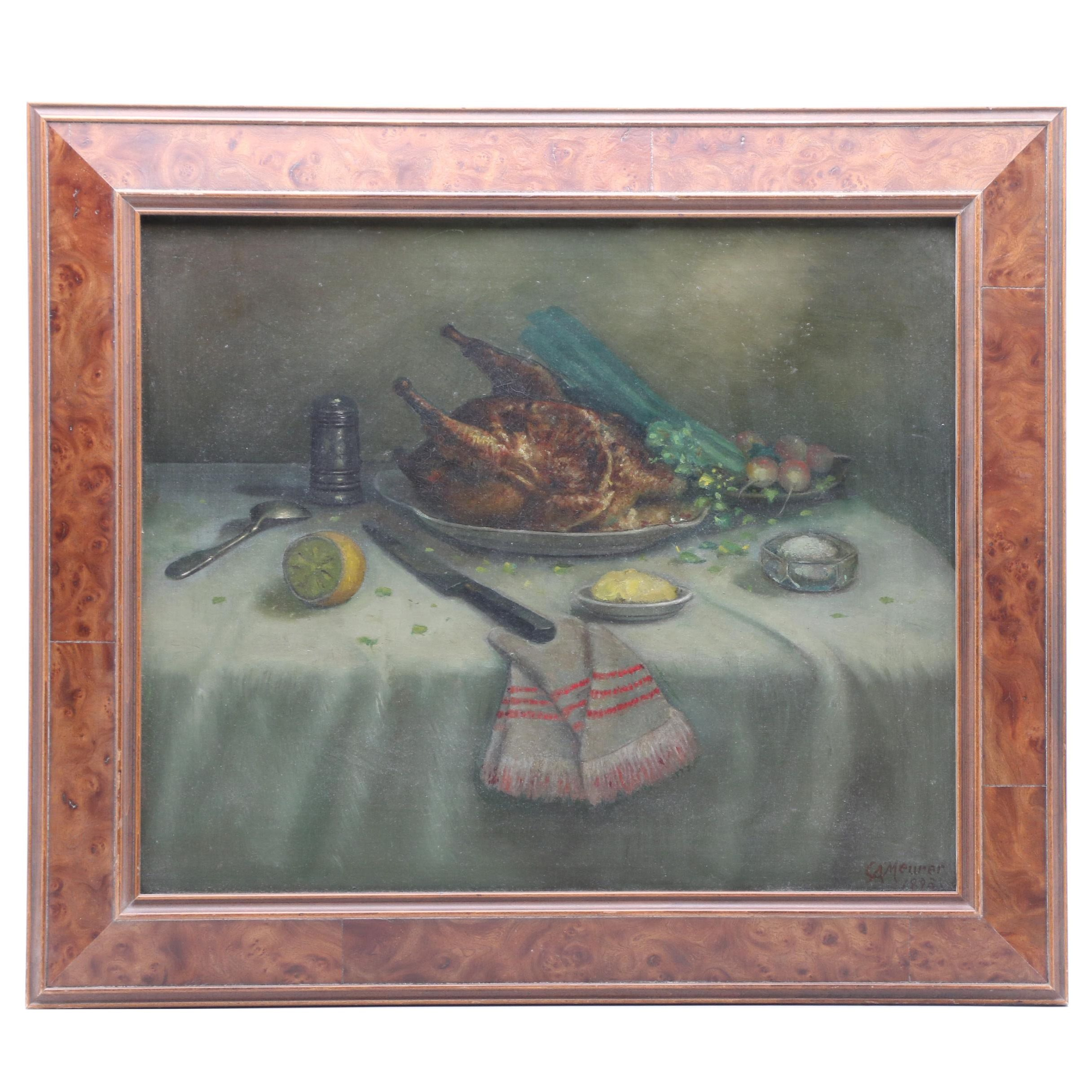 Charles Alfred Meurer 1895 Still Life Oil Painting
