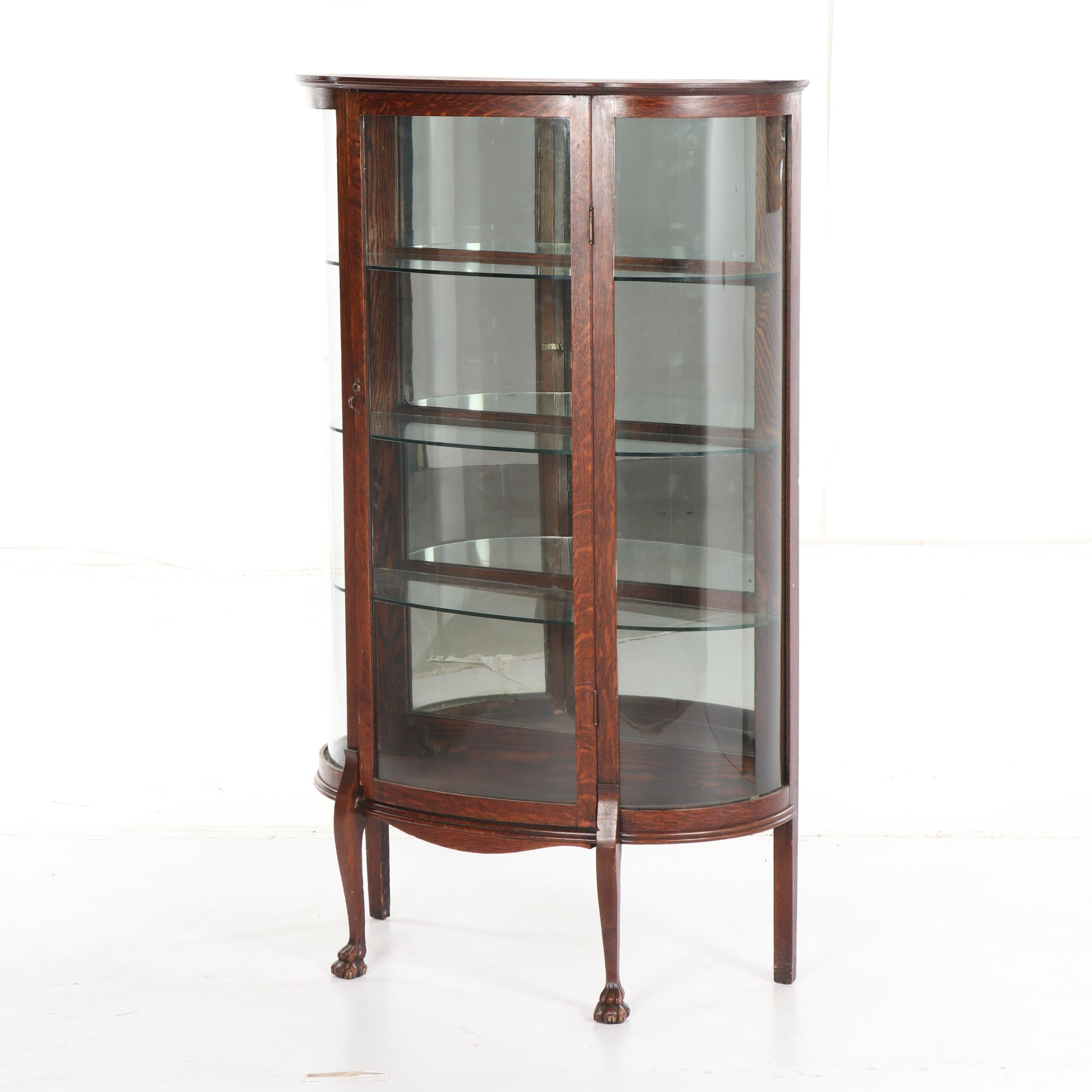 Oak Three-Shelf Curio Cabinet with Mirrored Back Panel, Early 20th Century