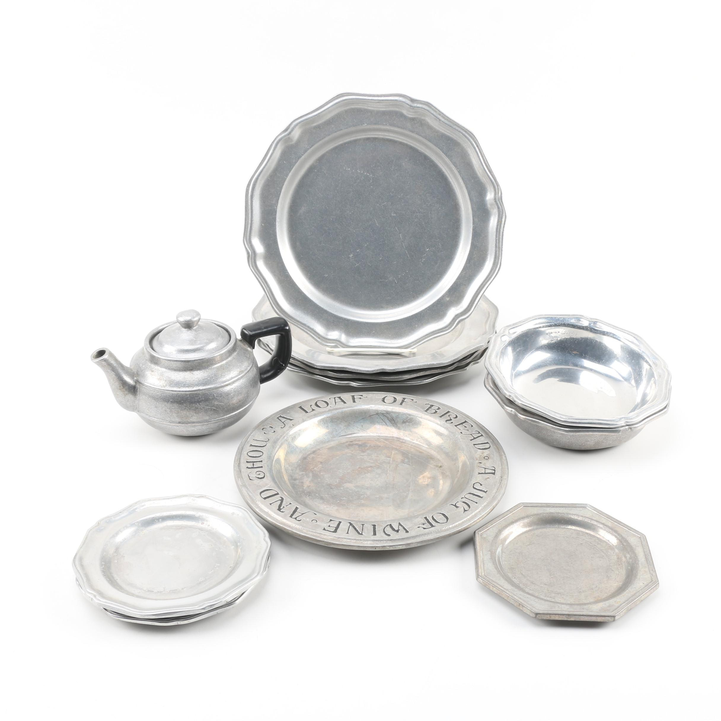 """Wilton Armetale """"Queen Anne"""" Pewter Plates and other Tableware, 1970s"""