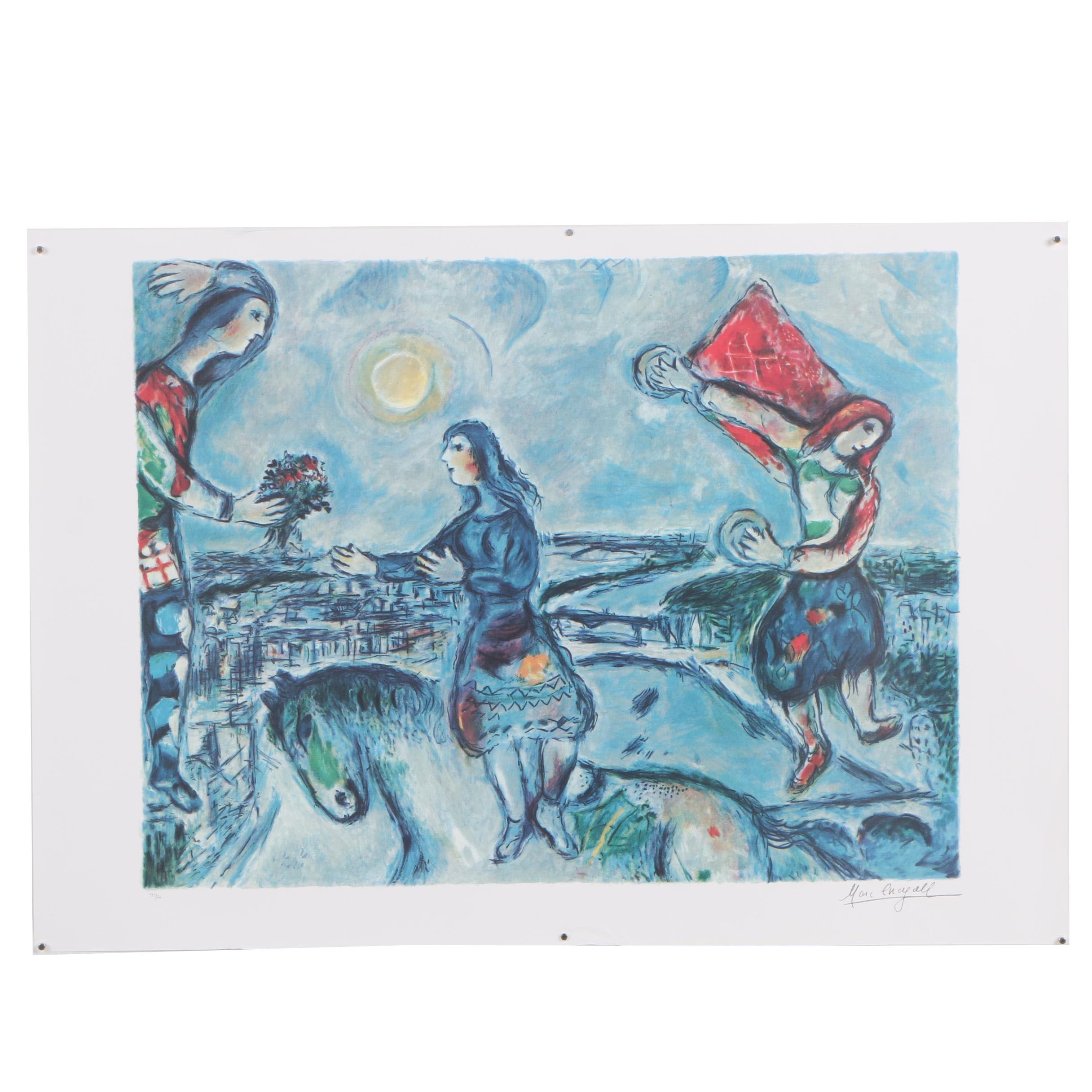 """Offset Lithograph after Marc Chagall """"Lovers Over Paris"""""""