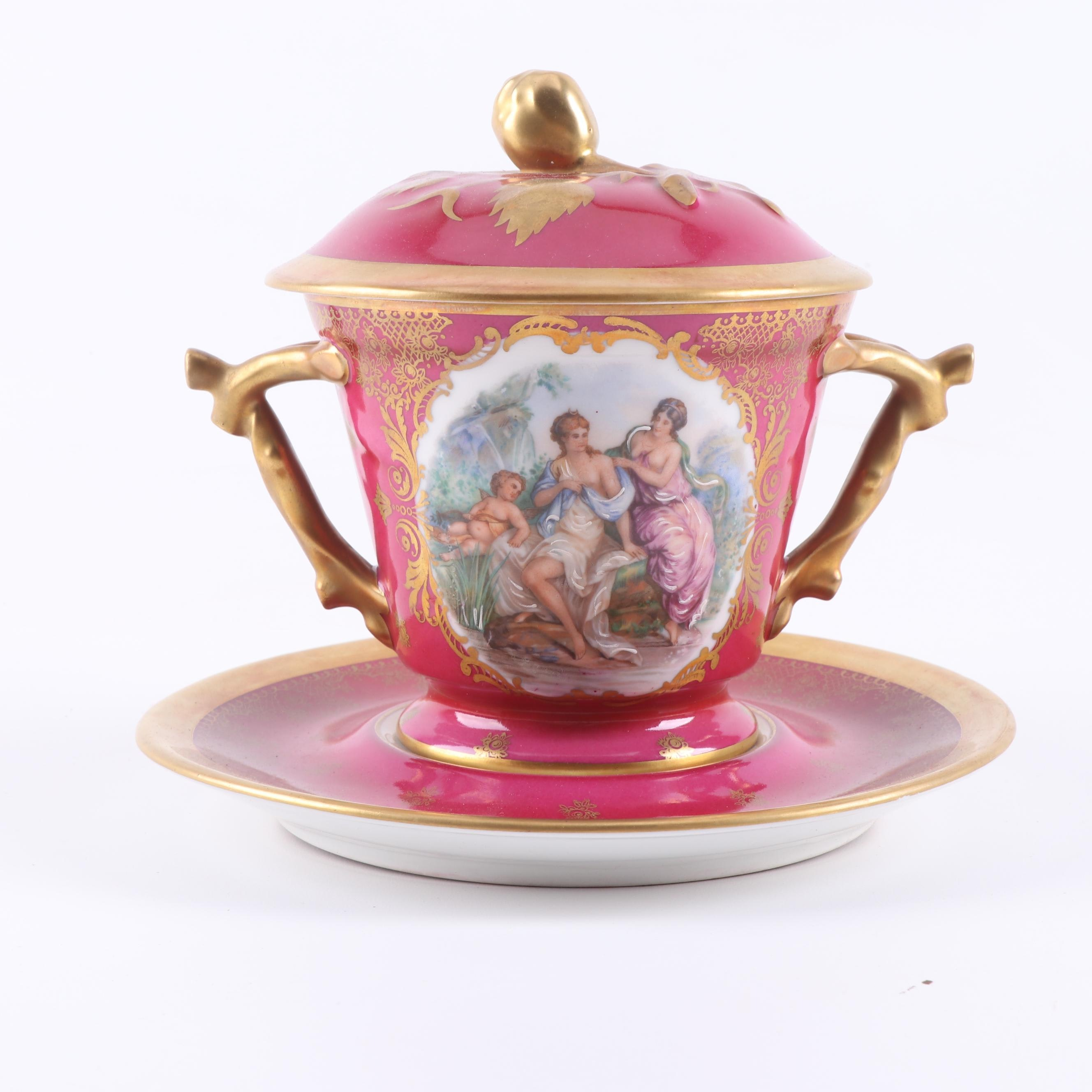 Castel Limoges Covered Condiment Dish with Underplate, circa 1955-79