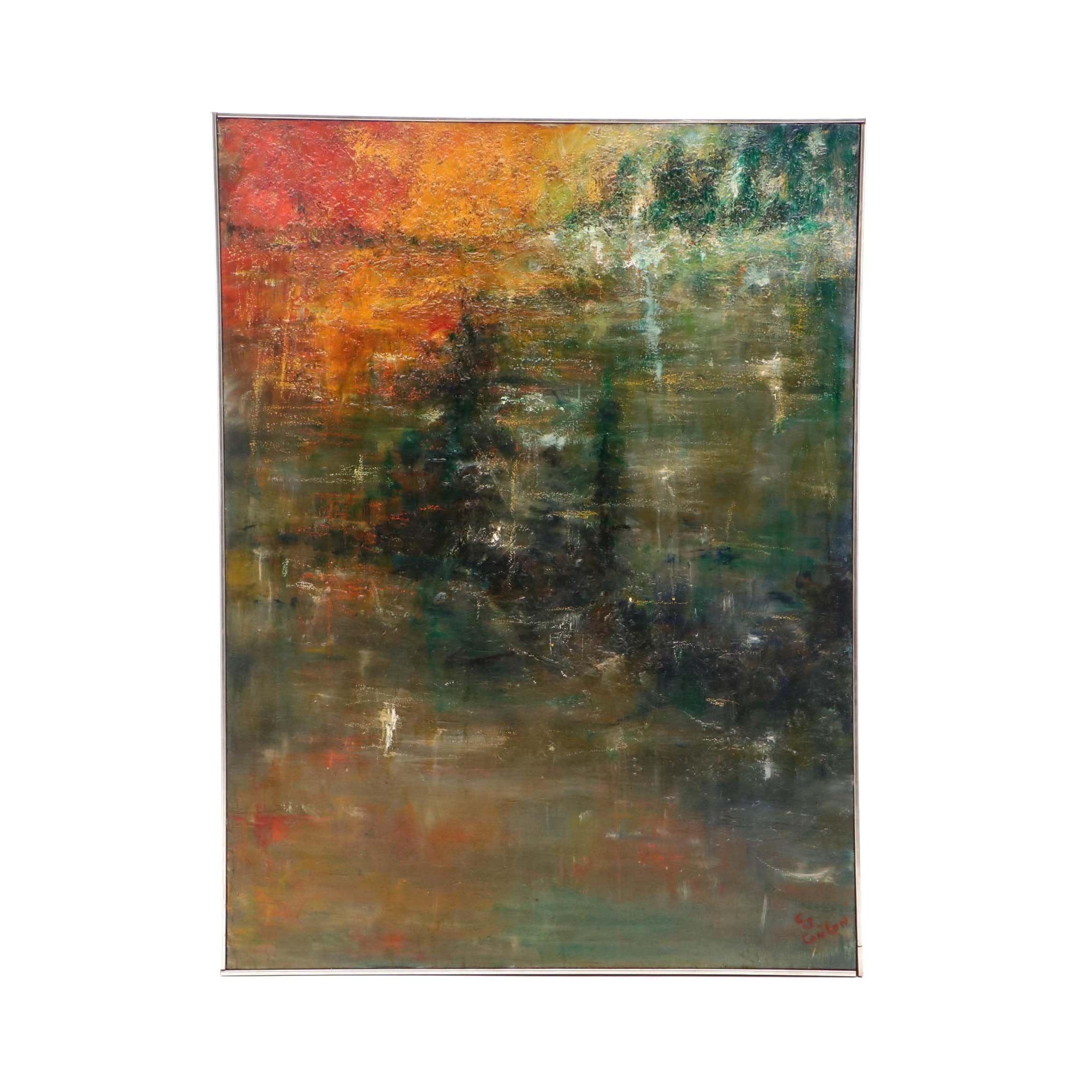 C. S. Conlon Mid-Century Abstract Oil Painting