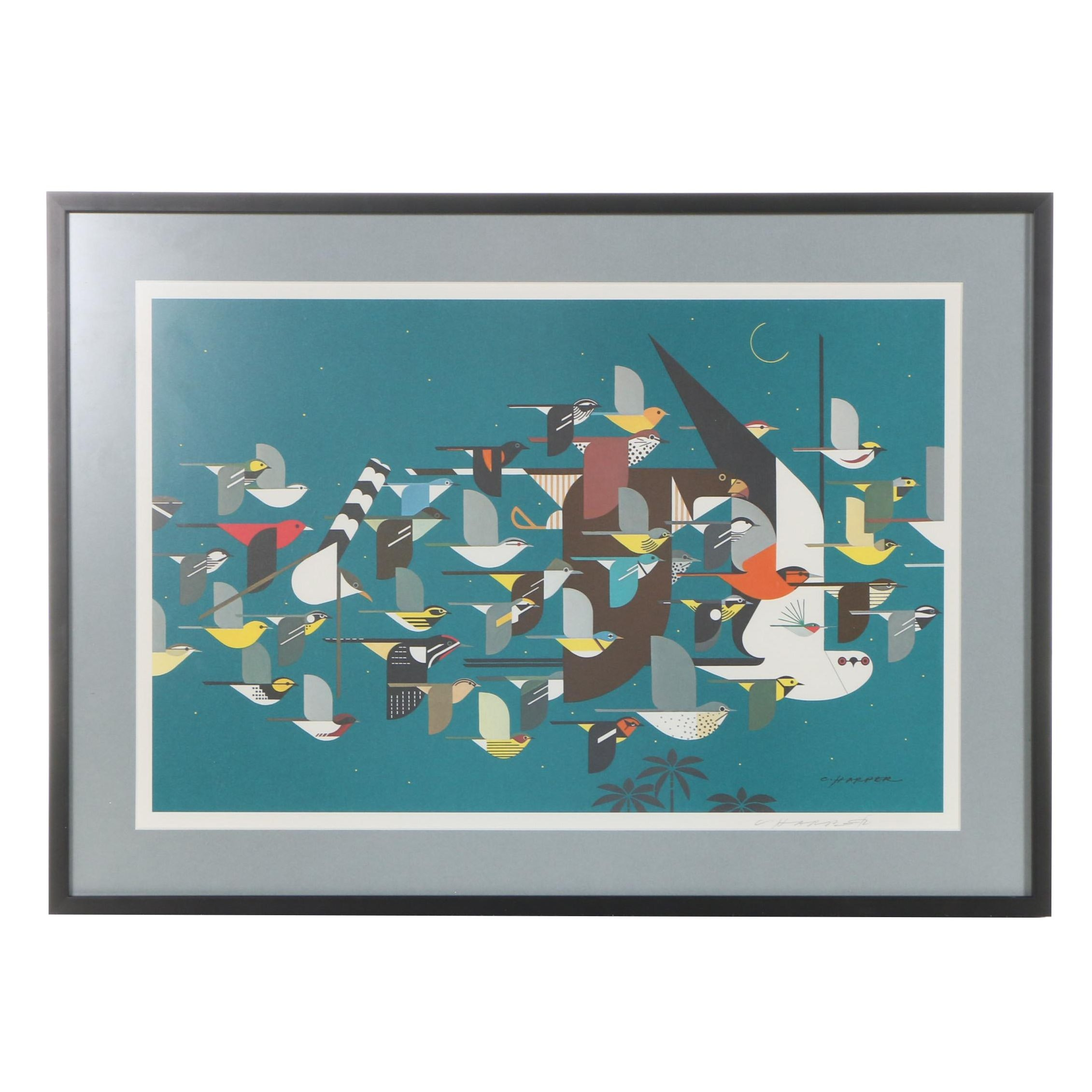 """Charley Harper Signed Offset Lithograph """"Mystery of the Missing Migrants"""""""
