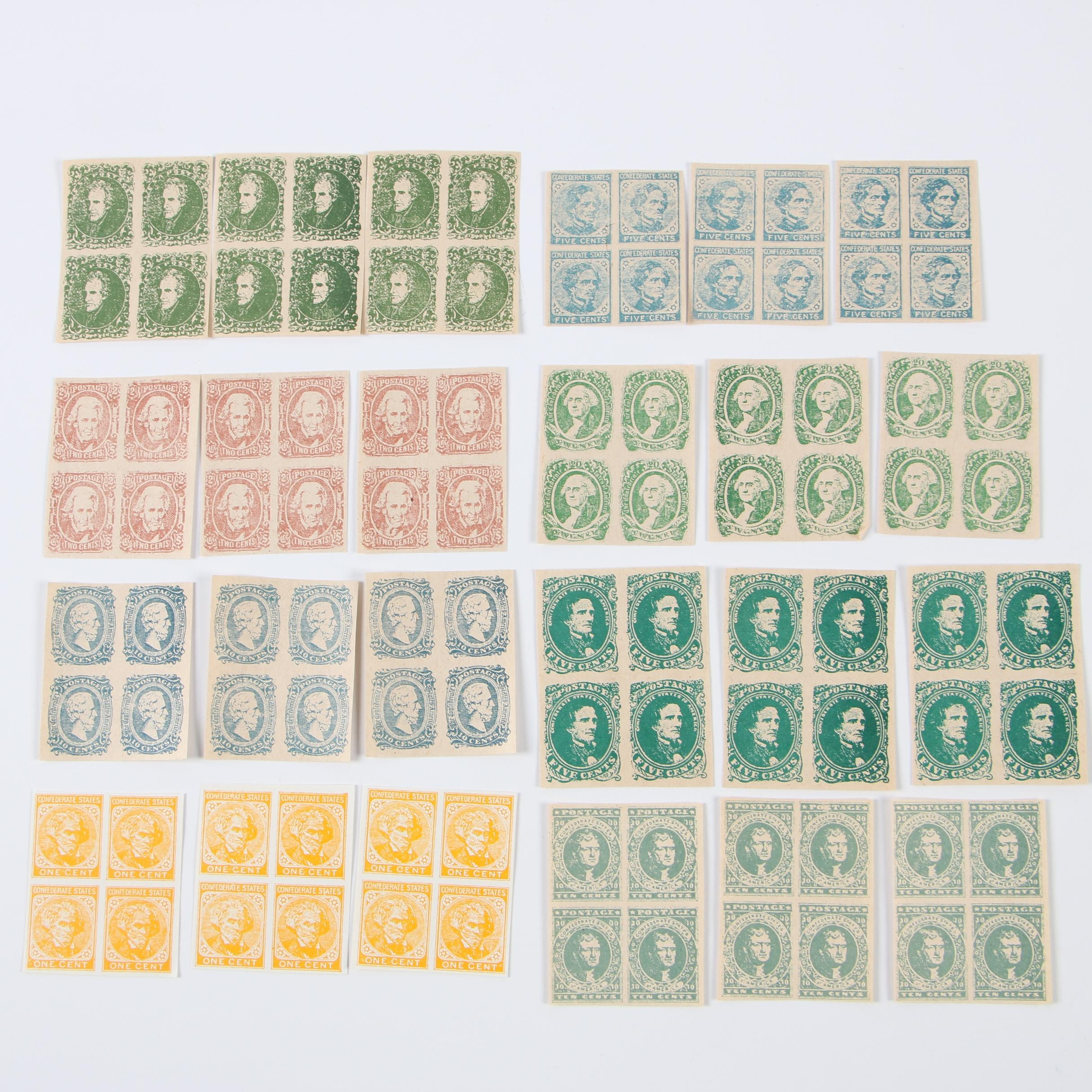 Facsimile Confederate States of America Postage Stamps, Early 20th Century