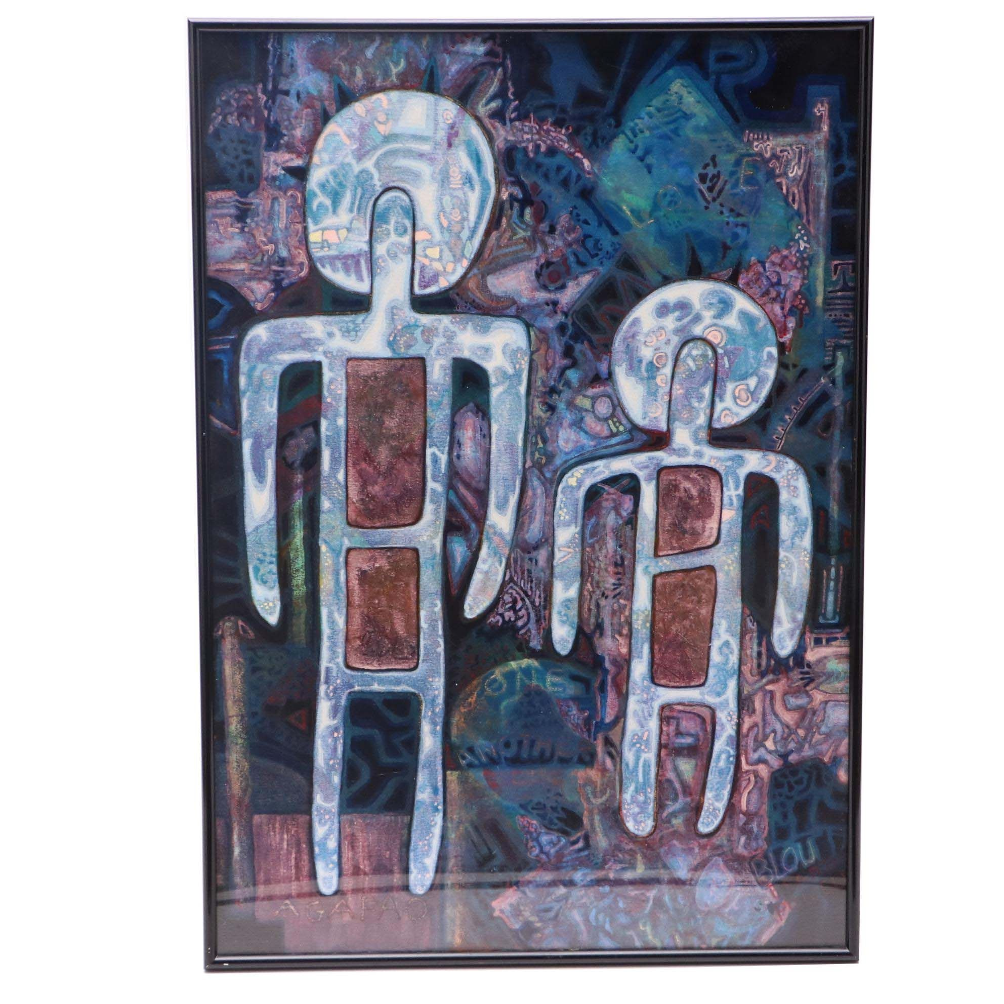 "Blou Beard Powell Abstract Acrylic Painting ""Agapao"""