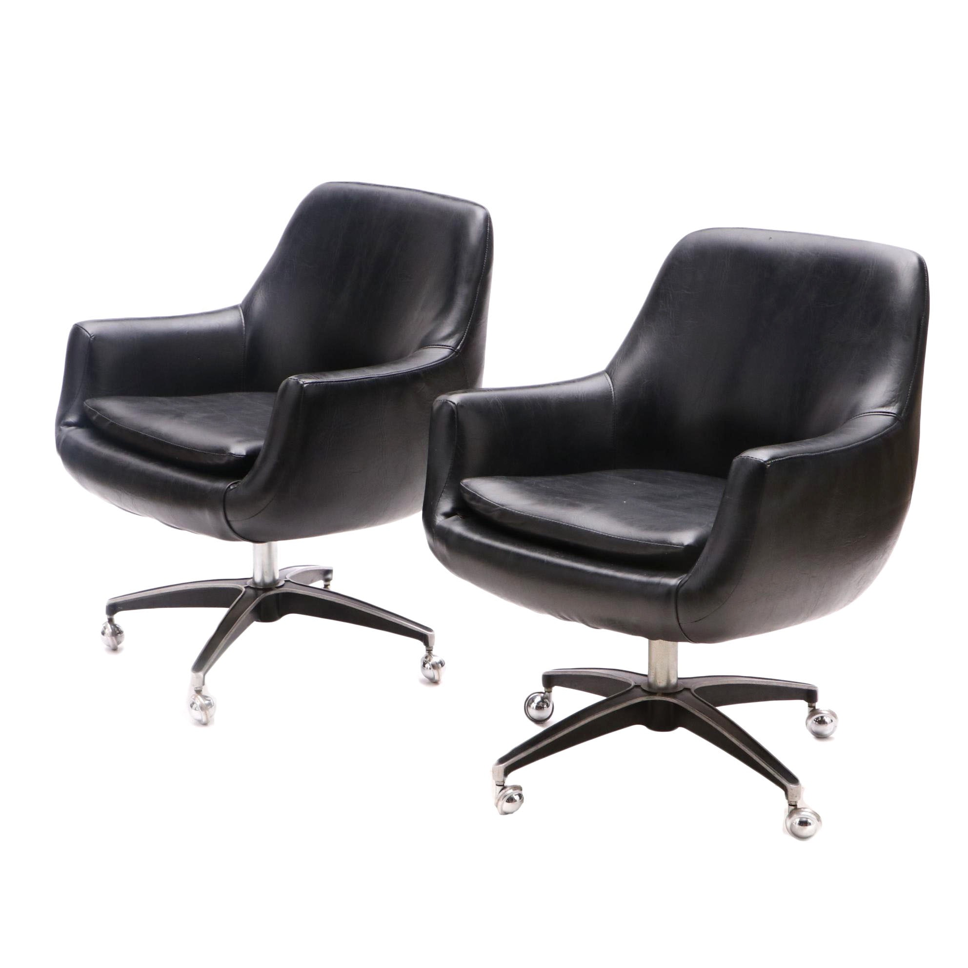 Daystrom Furniture Vintage Black Swivel Chairs