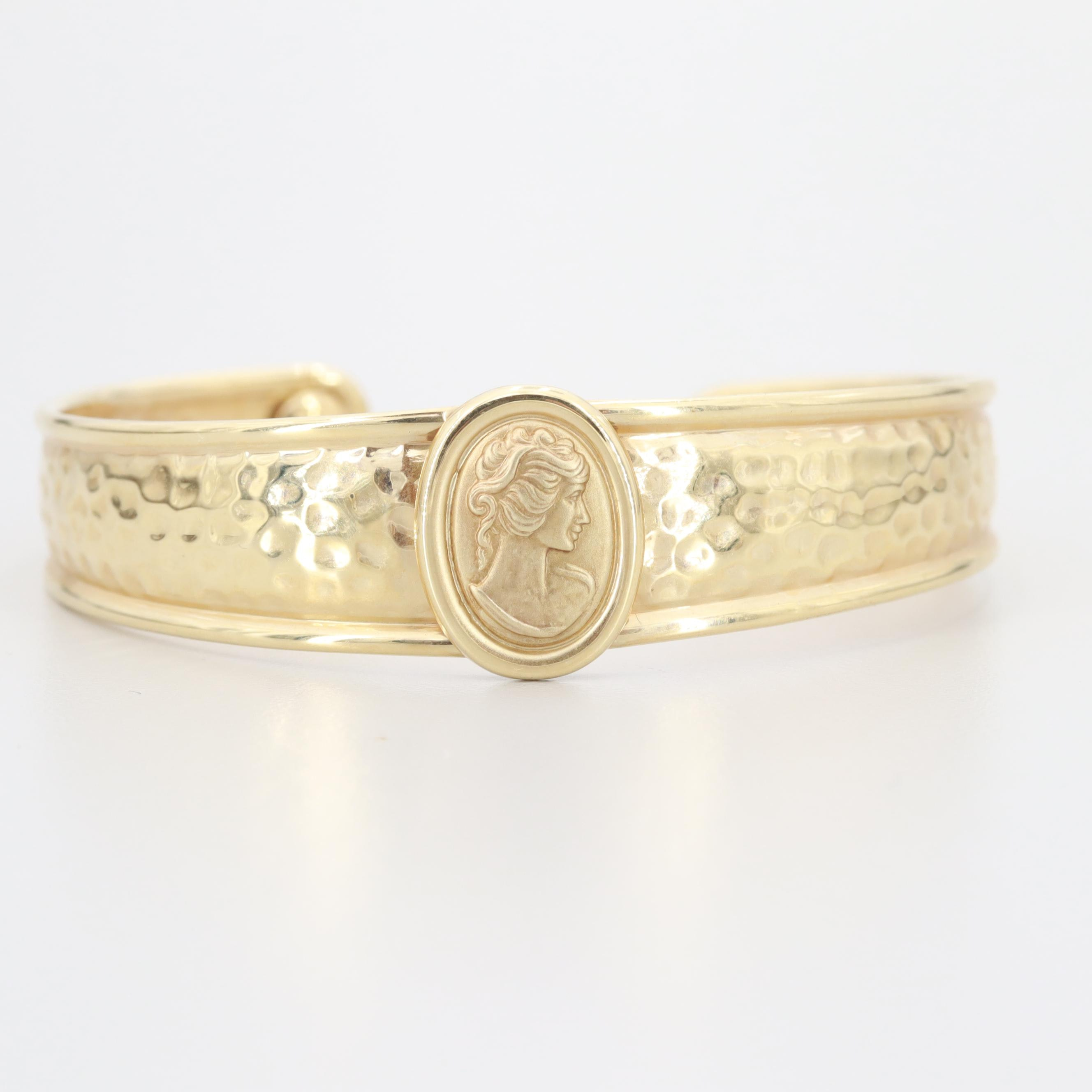 Vior Italy 14K Yellow Gold Cameo Style Cuff Bracelet
