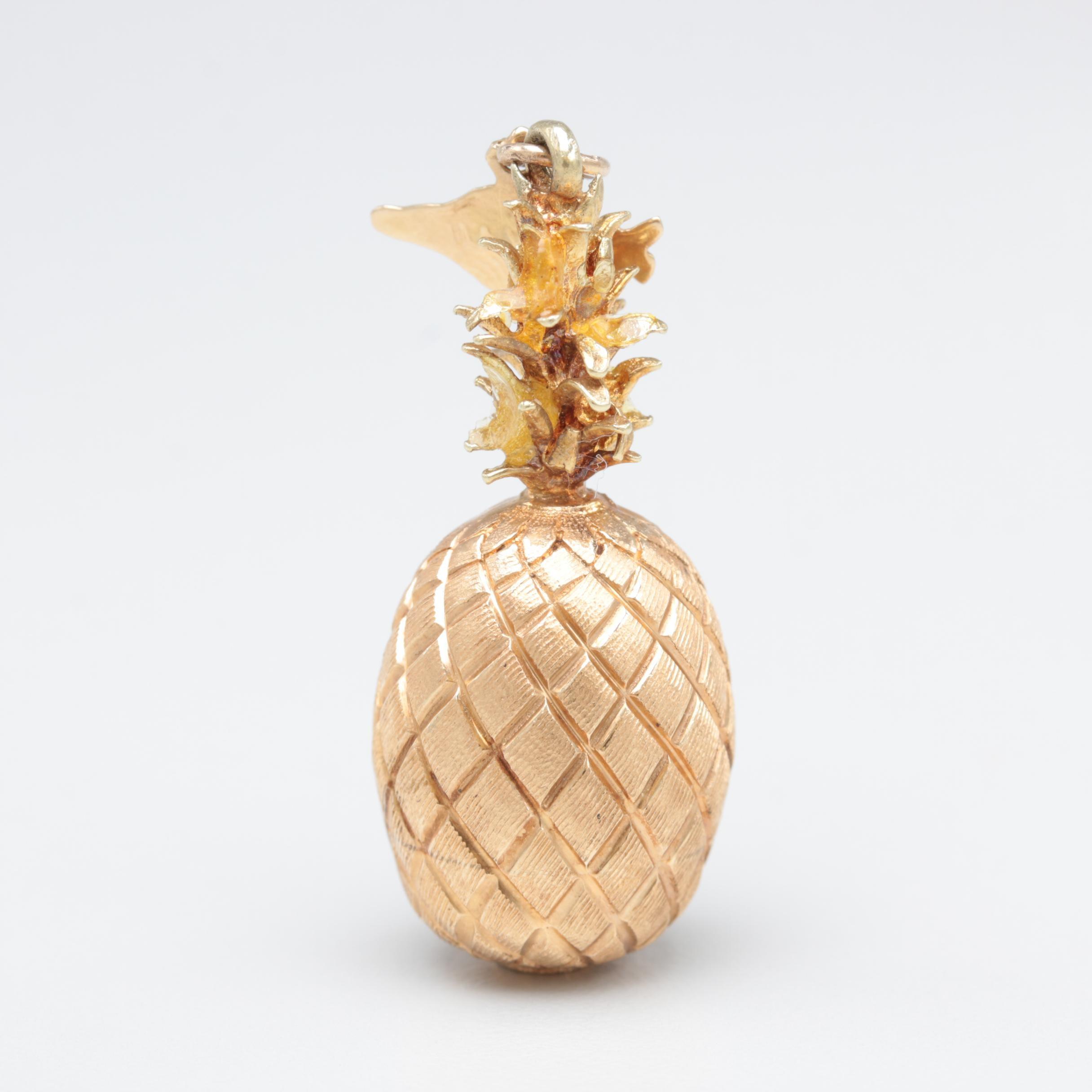 14K Yellow Gold Pineapple Hawaii Charm