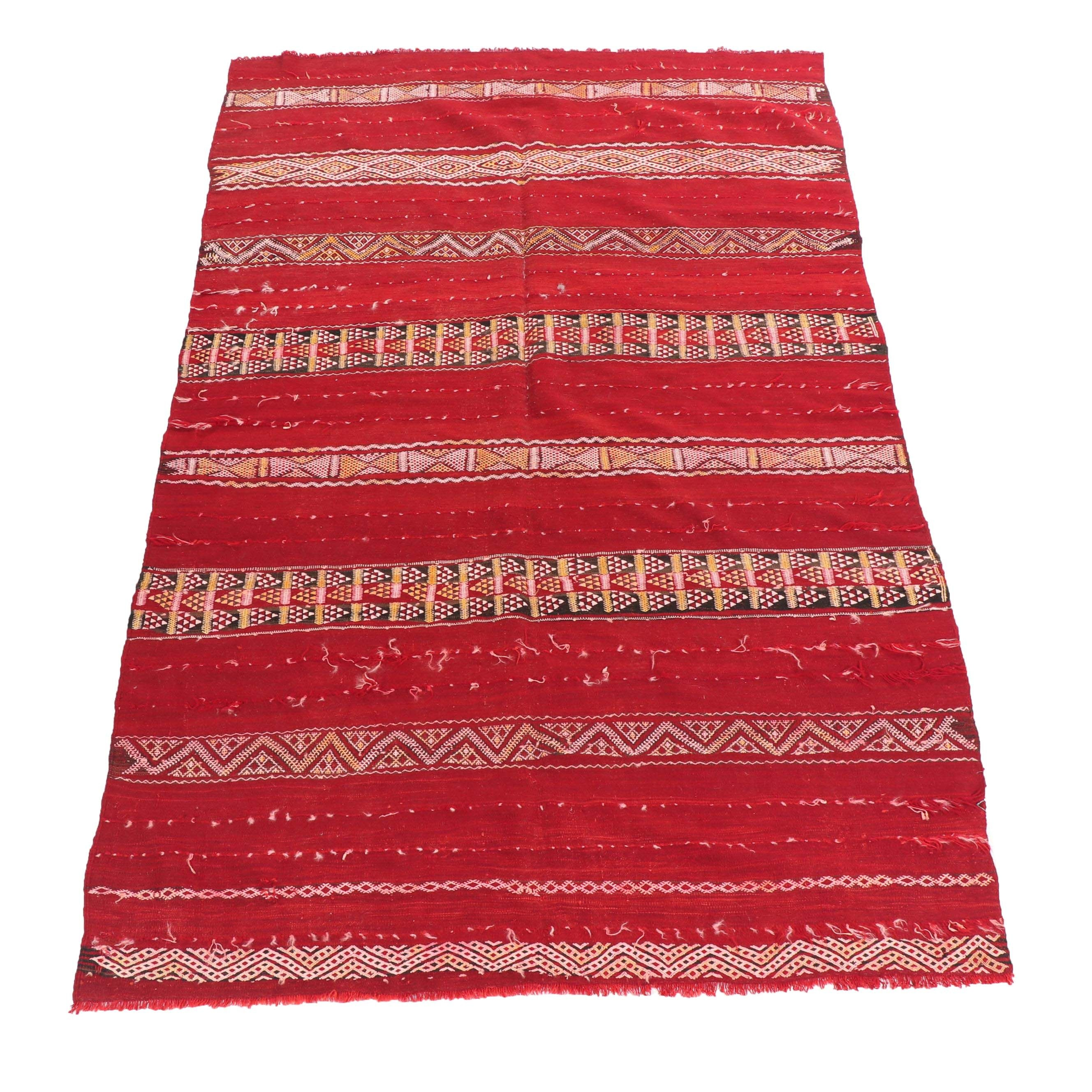 Handwoven and Embroidered Afghani Wool Kilim