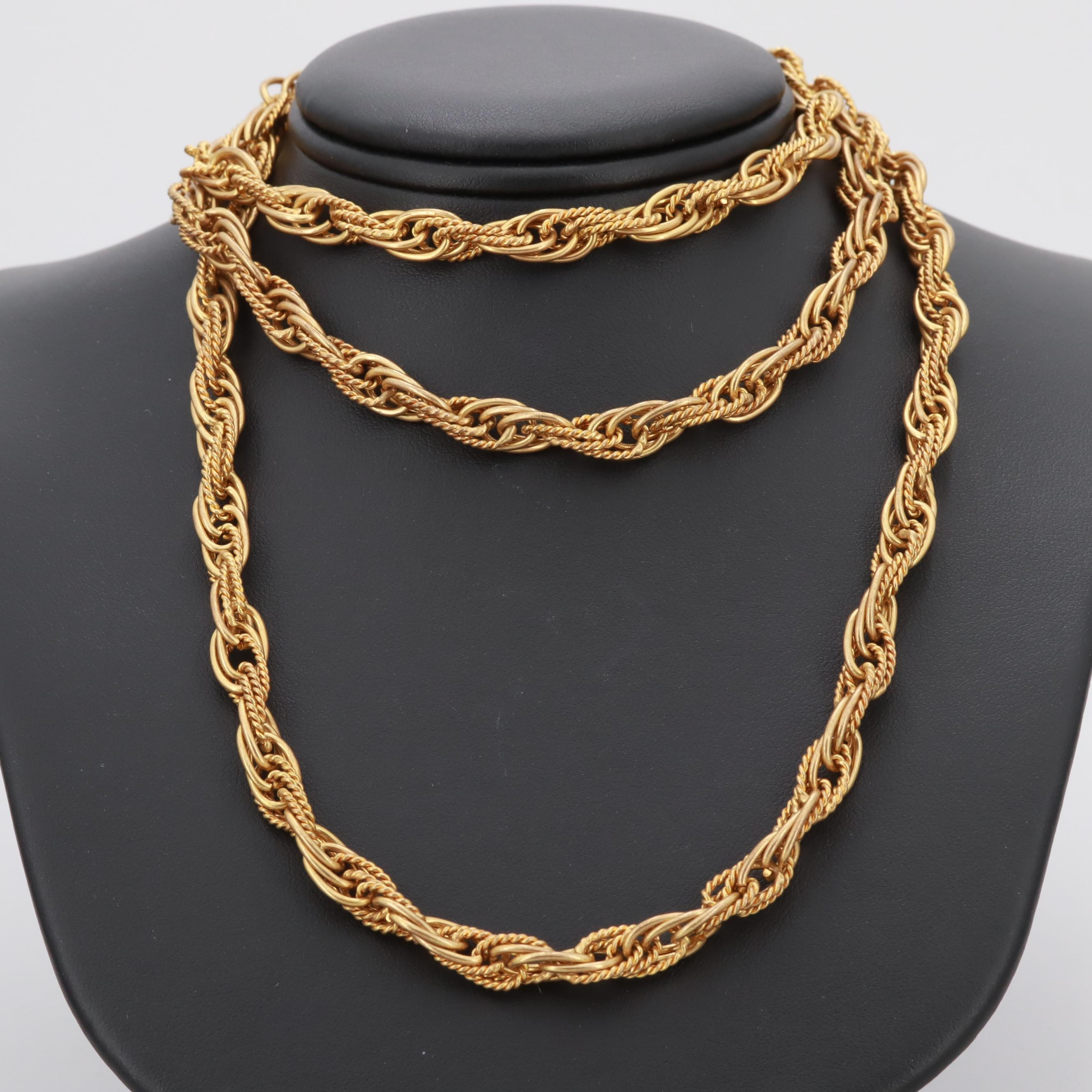 Gold Tone Fancy Link Necklace