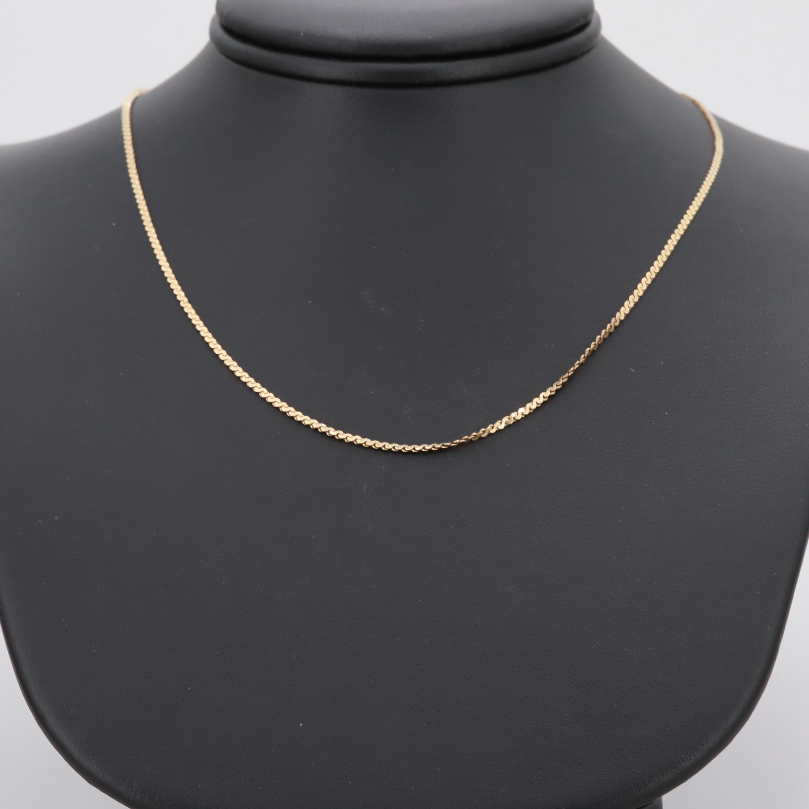 14K Yellow Gold Serpentine Chain Necklace