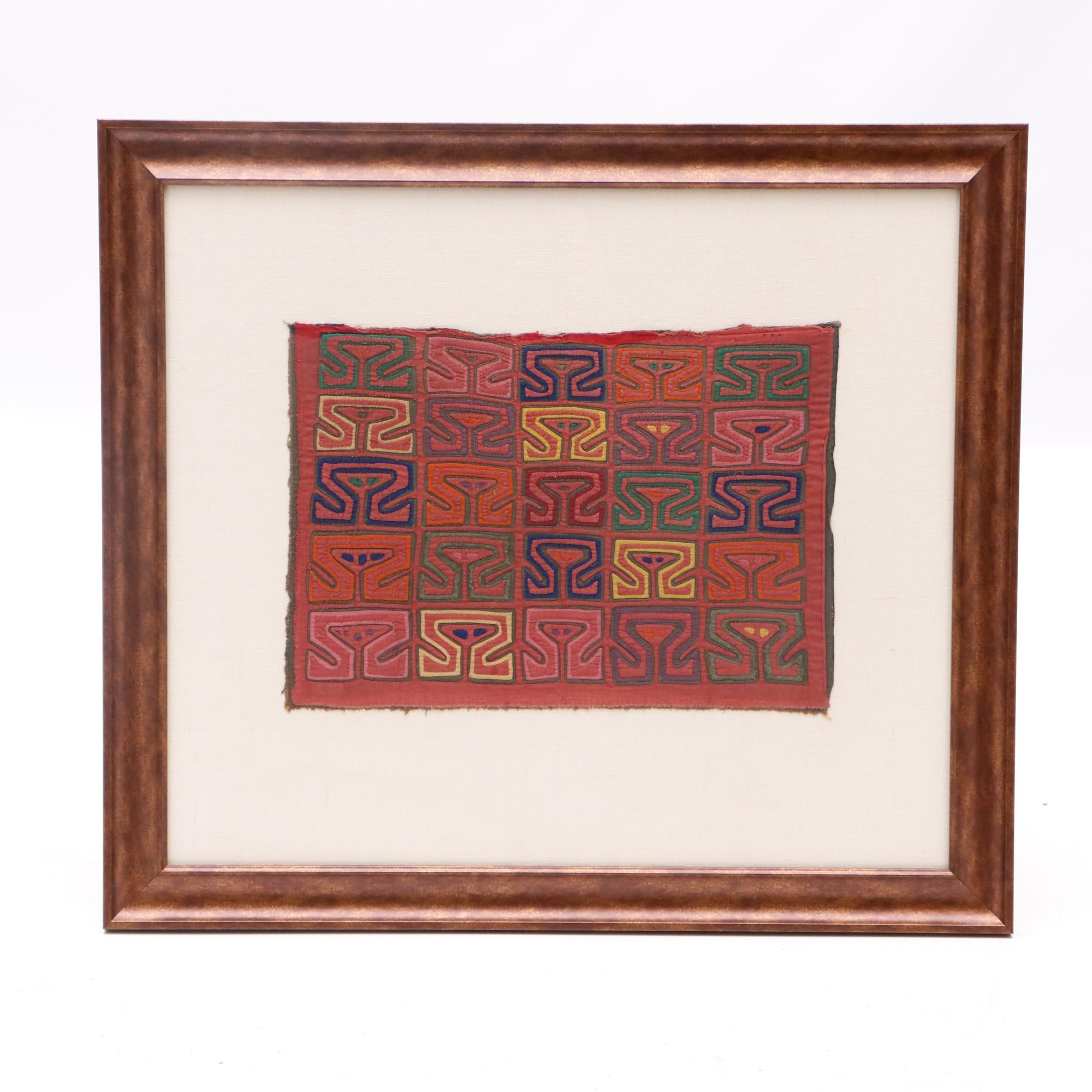 Framed Kuna Mola Textile Panel with Geometric Pattern