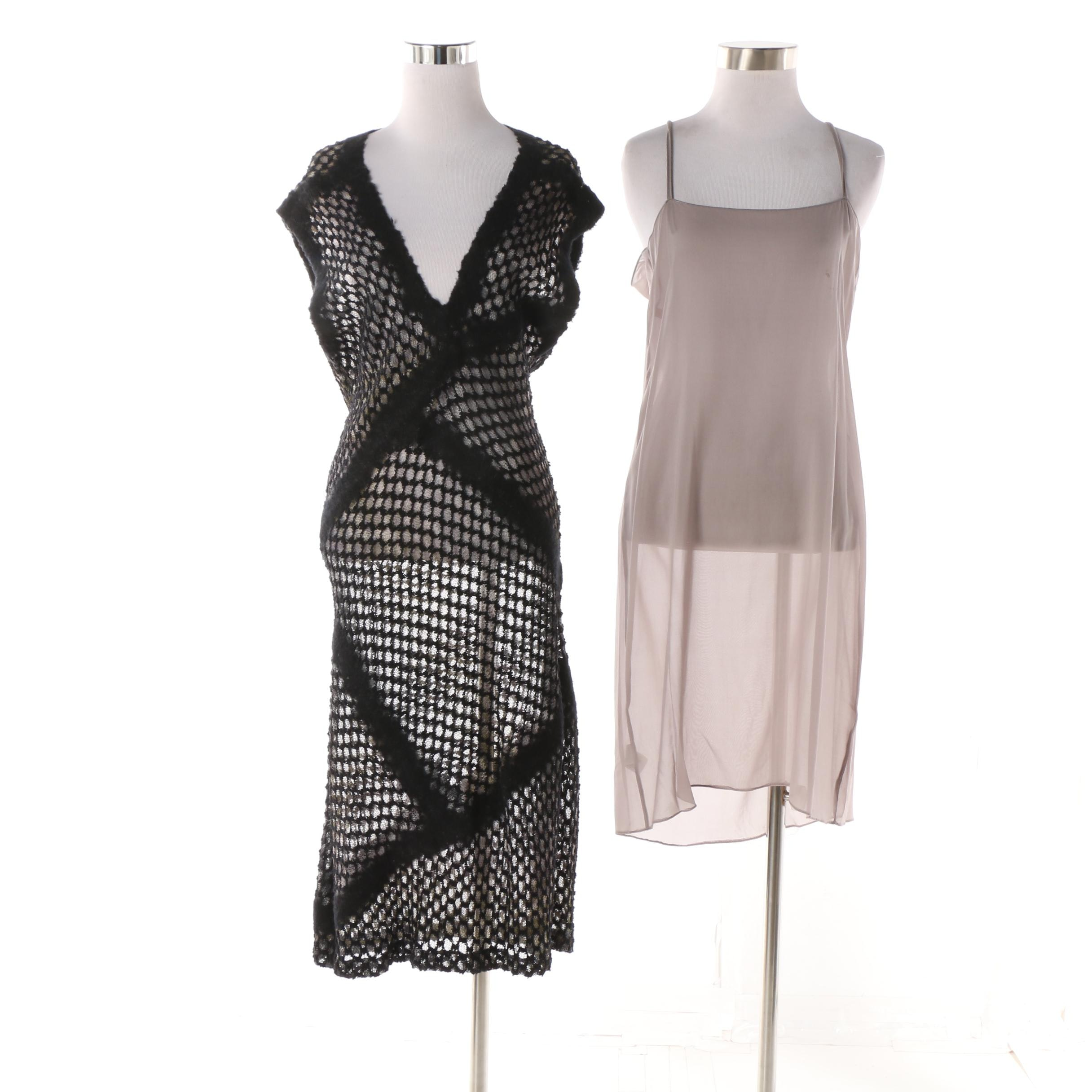 Missoni Black Open Knit V-Cut Dress with Gray Silk Slip, Made in Italy