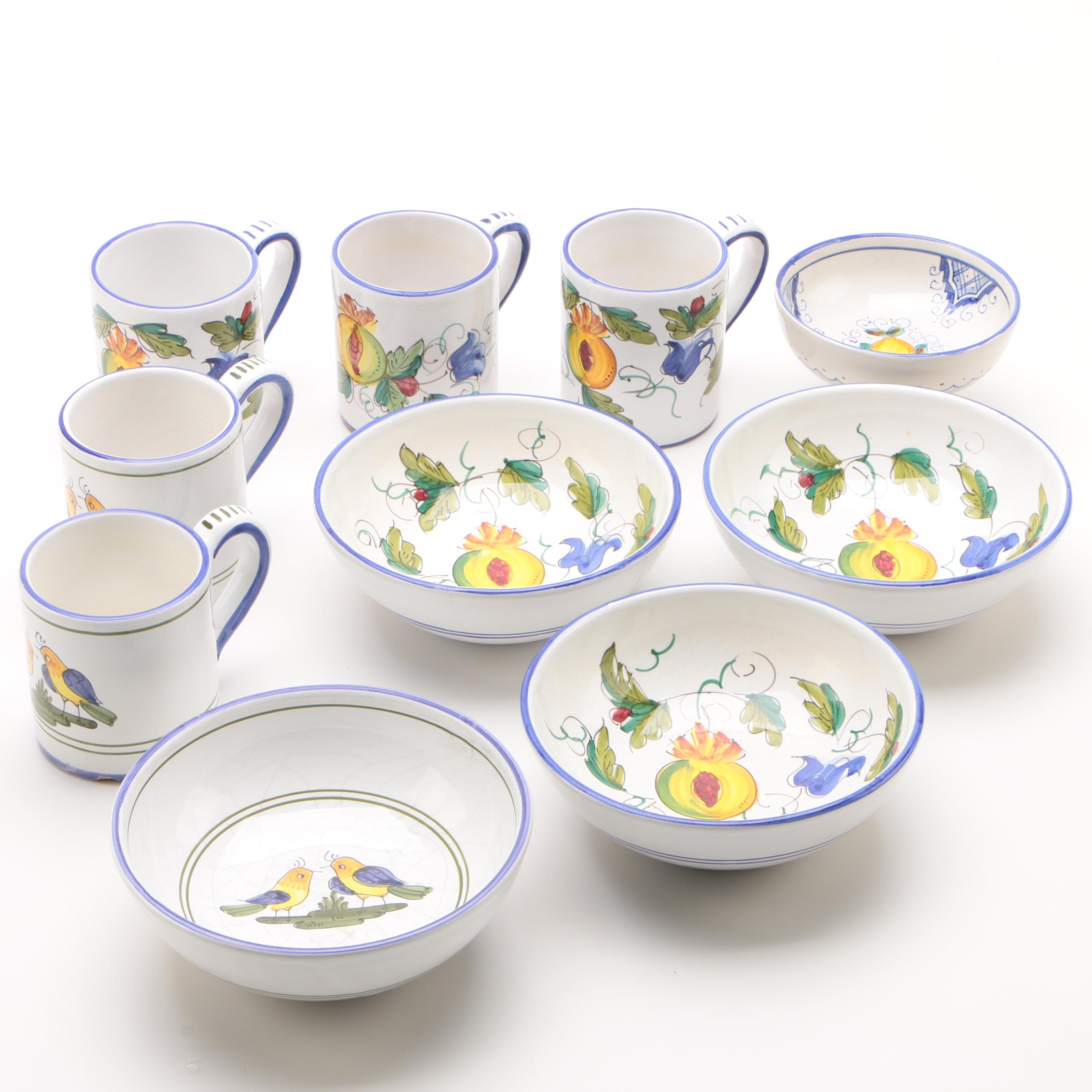 Italian Deruta for Creme de la Creme Bowls and Mugs