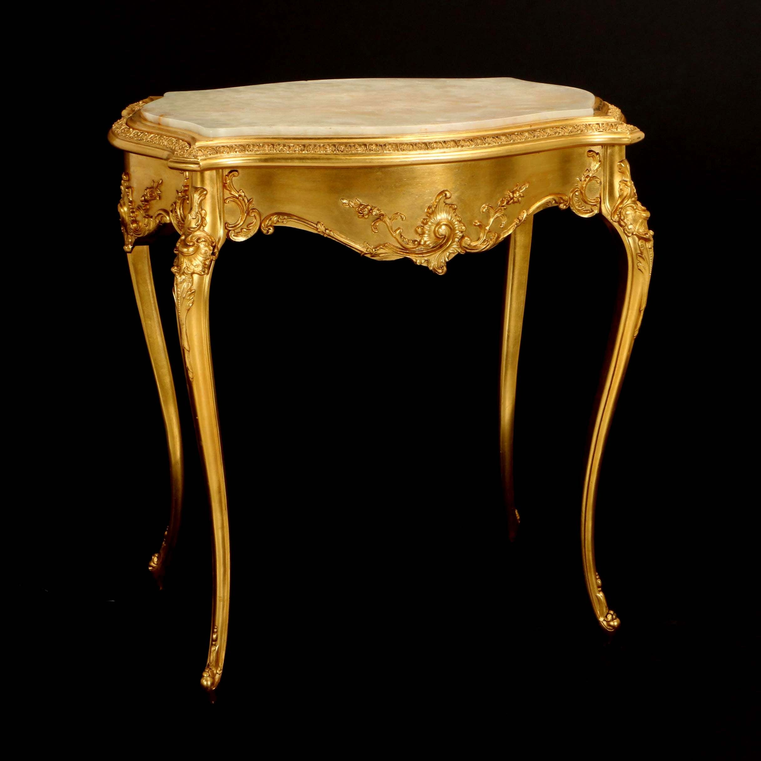 Louis XV Style Giltwood and Onyx Side Table, 20th Century