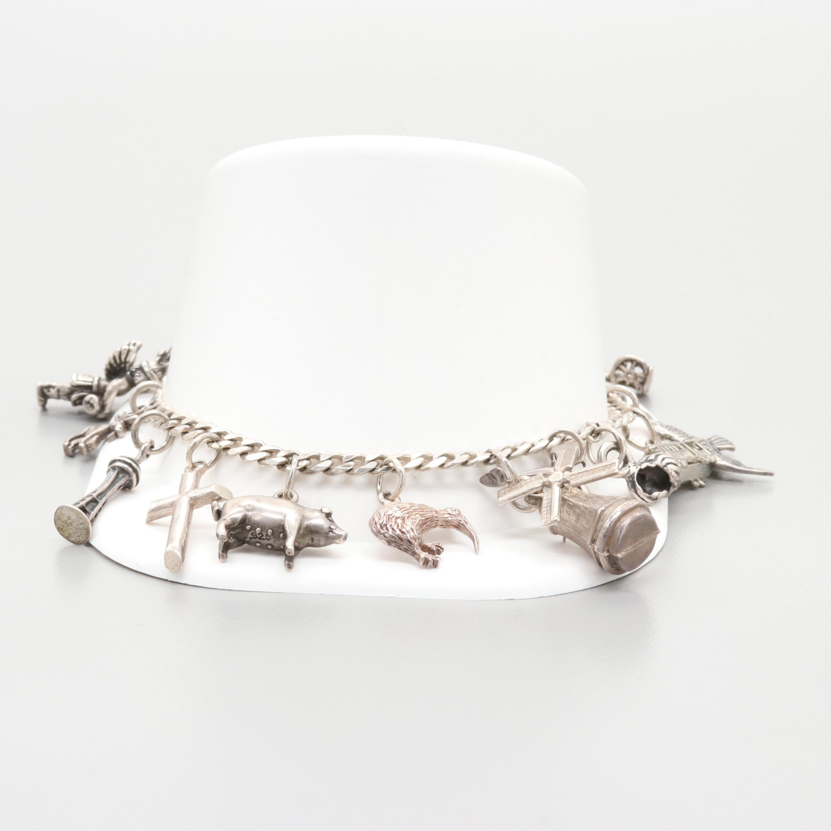 Sterling Silver Charm Bracelet with Nature and Travel Theme