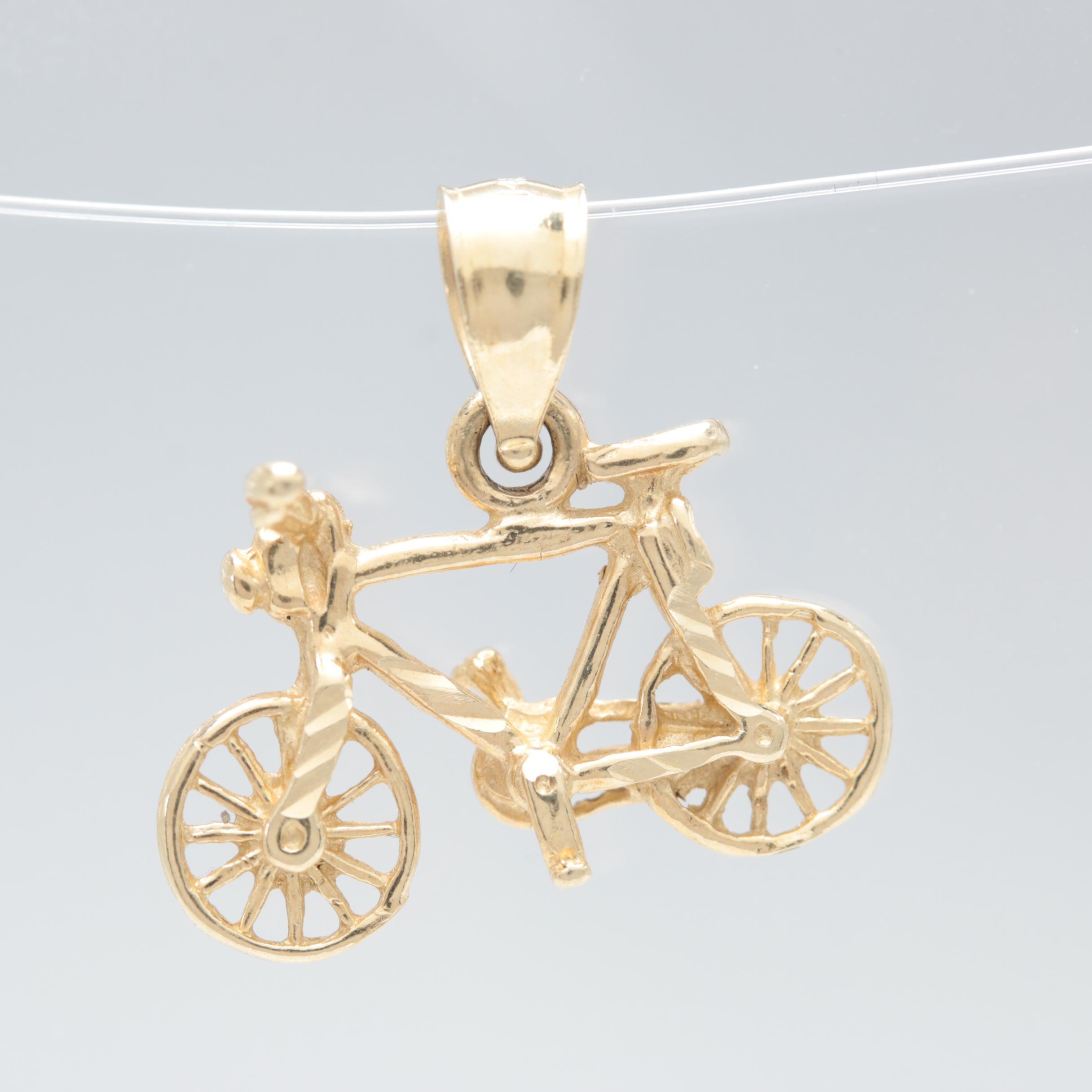14K Yellow Gold Bicycle Pendant