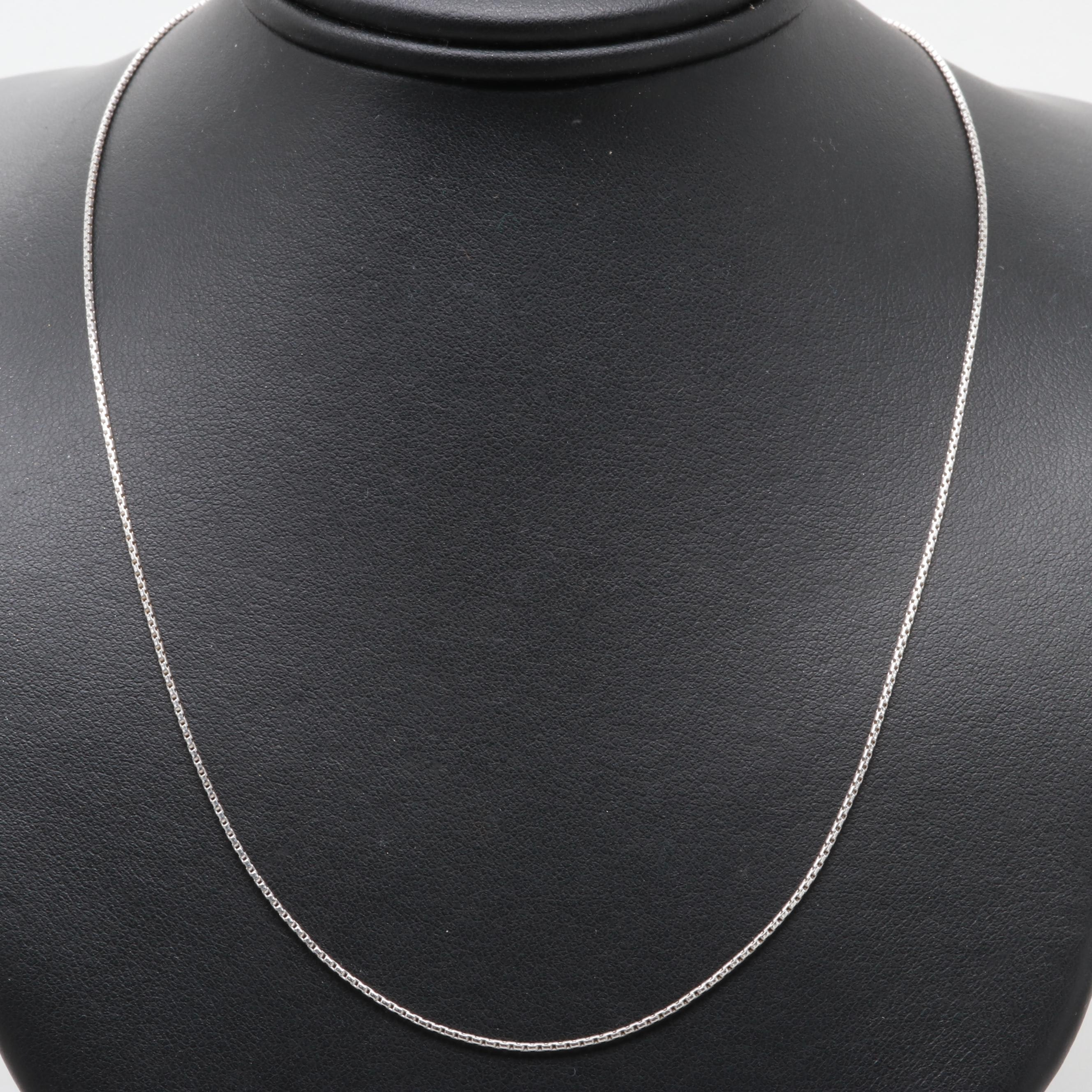 Sterling Silver Adjustable Round Box Chain Necklace