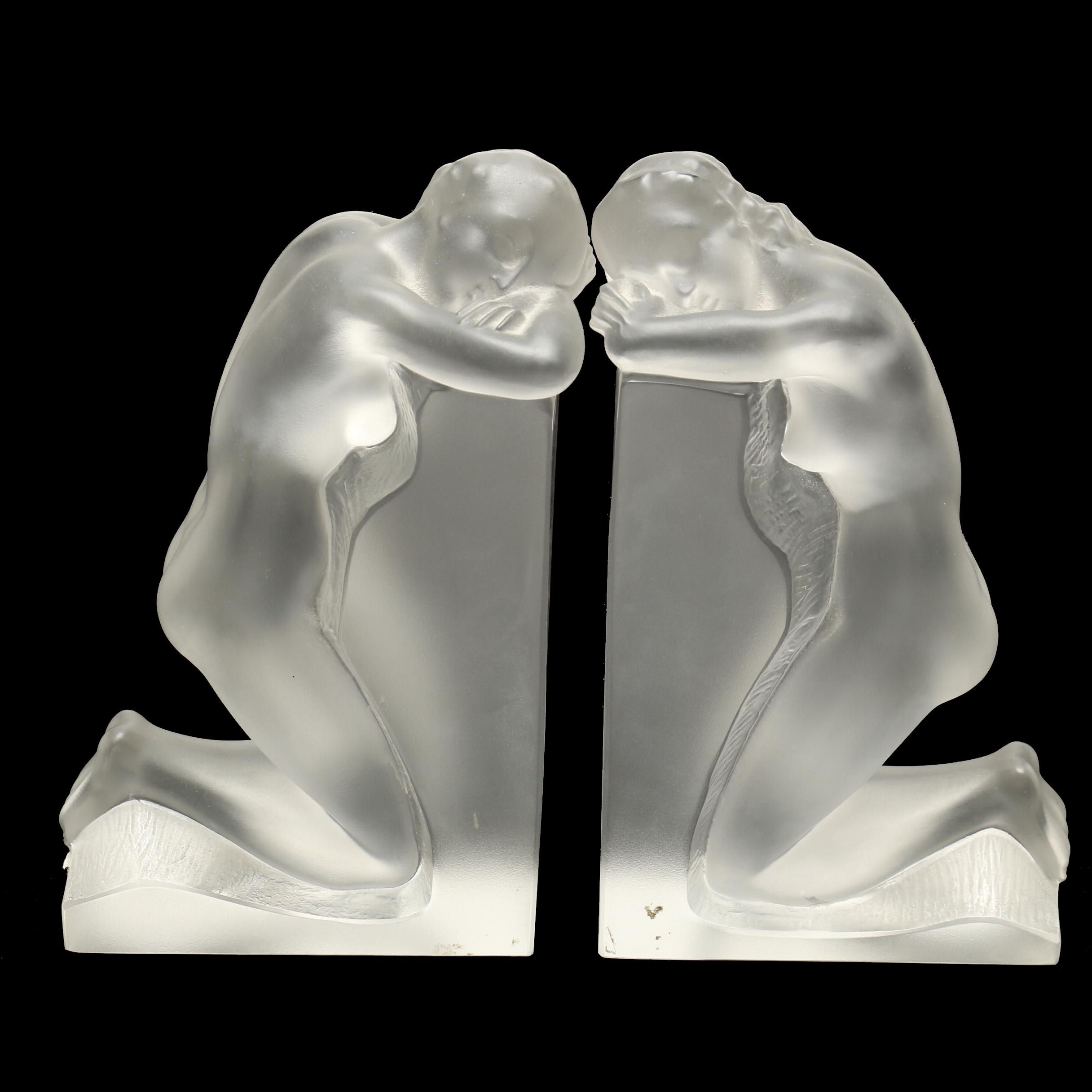"Lalique ""Reverie"" Crystal Bookends"