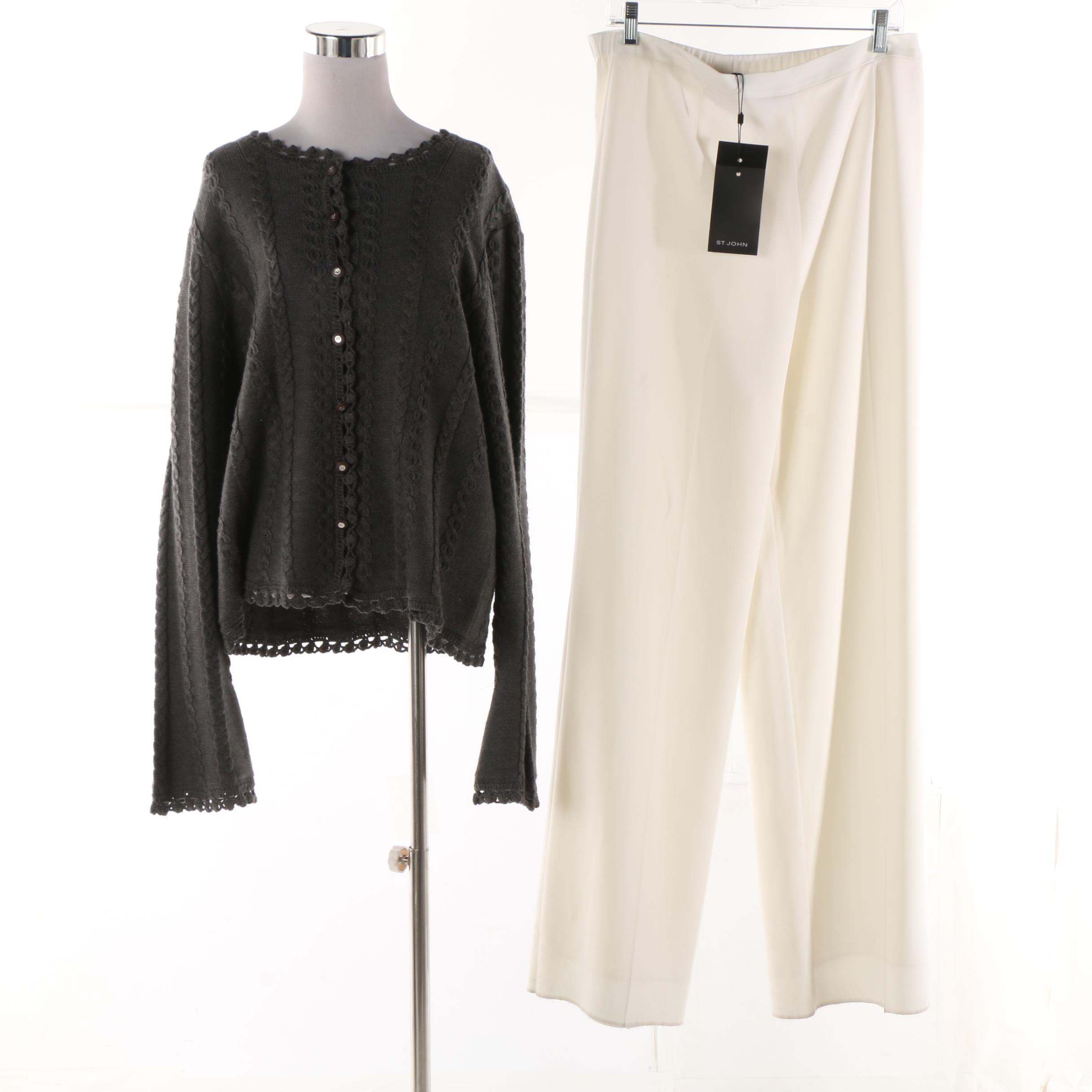 St. John Collection Gray Knit Cardigan and St. John Winter White Pants