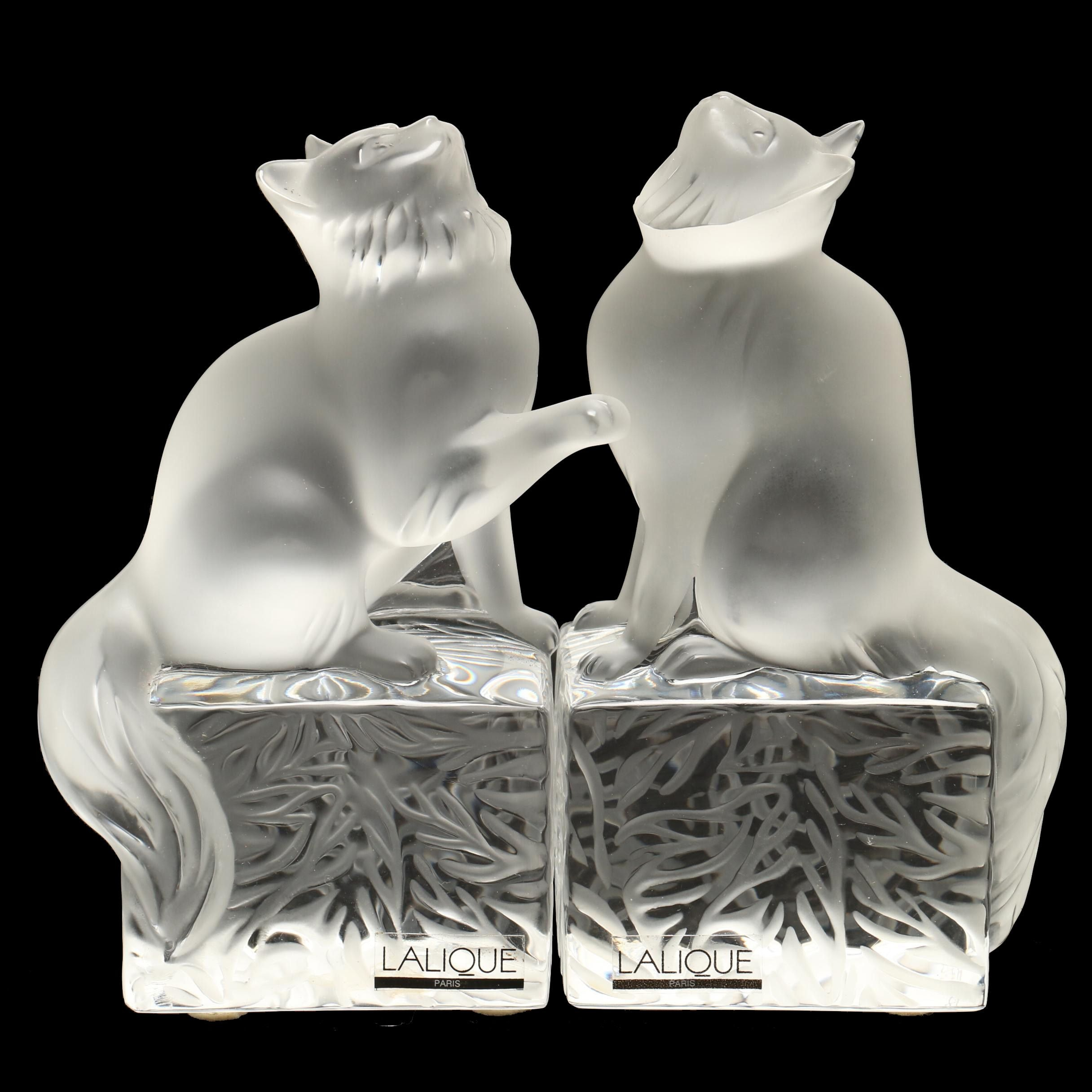 """Lalique Crystal """"Dendour"""" and """"Doucette"""" Cat Paperweights"""